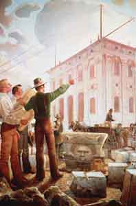 In painting by Gary Smith, Joseph Smith views work on Nauvoo Temple.