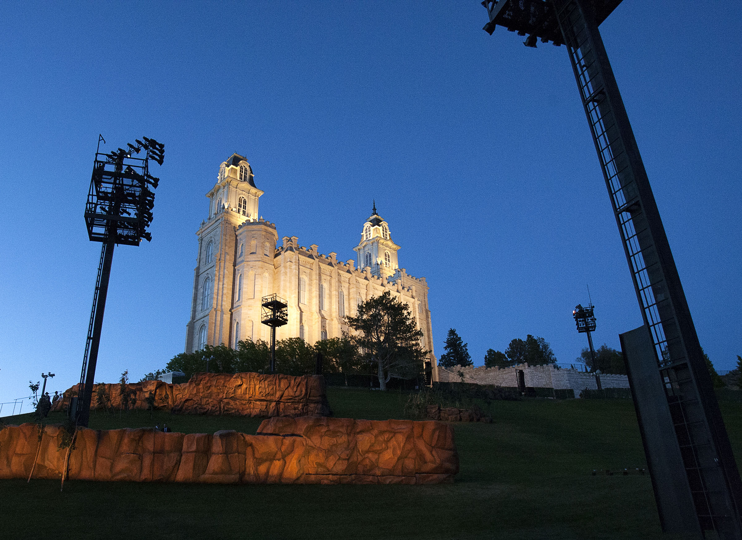 The Manti Temple, pictured during the Mormon Miracle Pageant on Wednesday, June 15, 2016, is illuminated at times during the show.