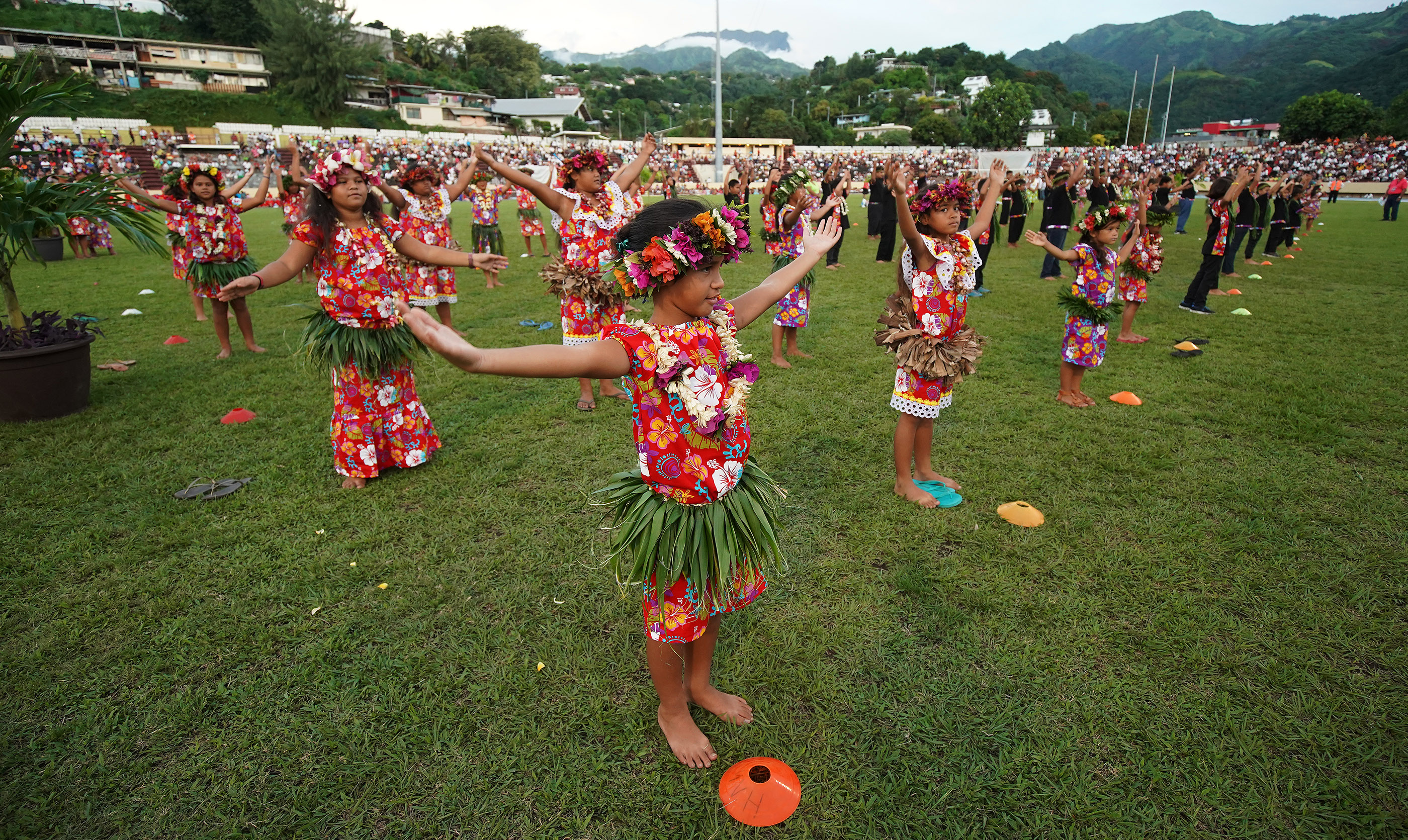 Performers dance during a Tahiti cultural program in Papeete, Tahiti, on May 24, 2019.