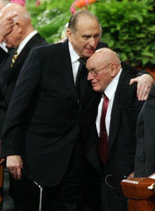 Elder Joseph B. Wirthlin, right, receives a hug from President Thomas S. Monson following an April 2008 General Conference session. A member of the Quorum of the Twelve since 1986, Elder Wirthlin passed away at age 91.