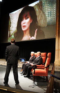 Marie Osmond congratulates the Mormon Tabernacle Choir on the launch of its new YouTube channel in Salt Lake City, Tuesday, Oct. 30, 2012.