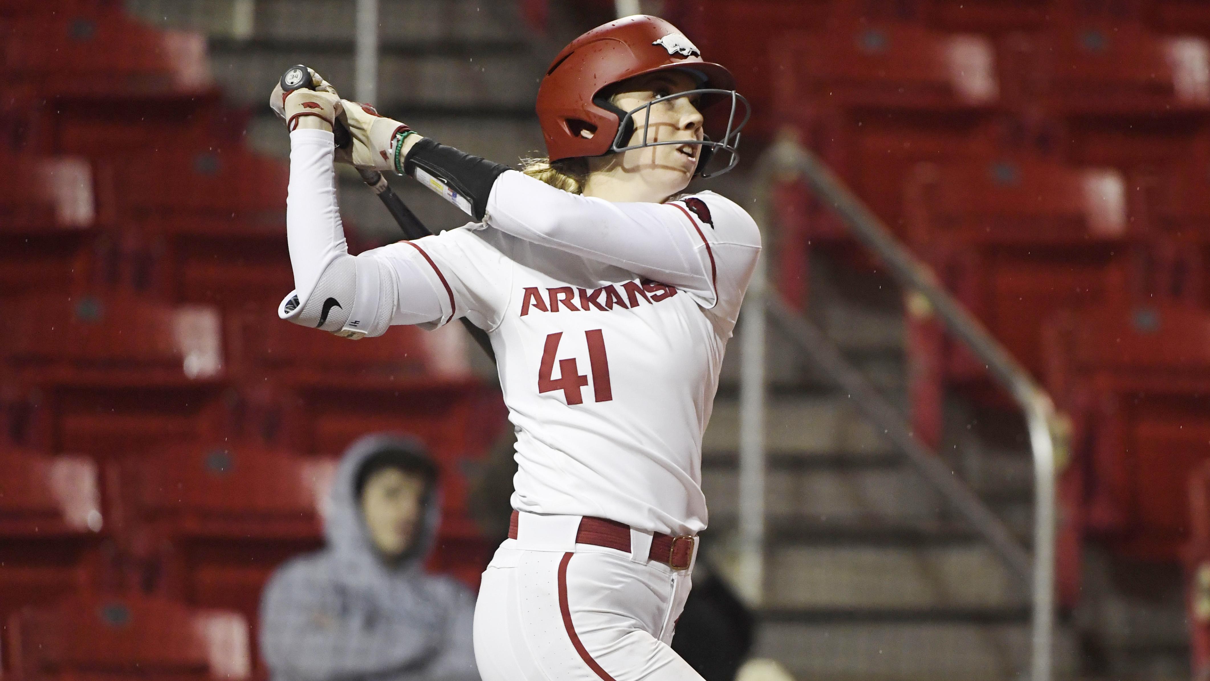 Arkansas batter Danielle Gibson against SEMO during an NCAA softball game on Friday Feb. 22, 2019, in Fayetteville, Arkansas.