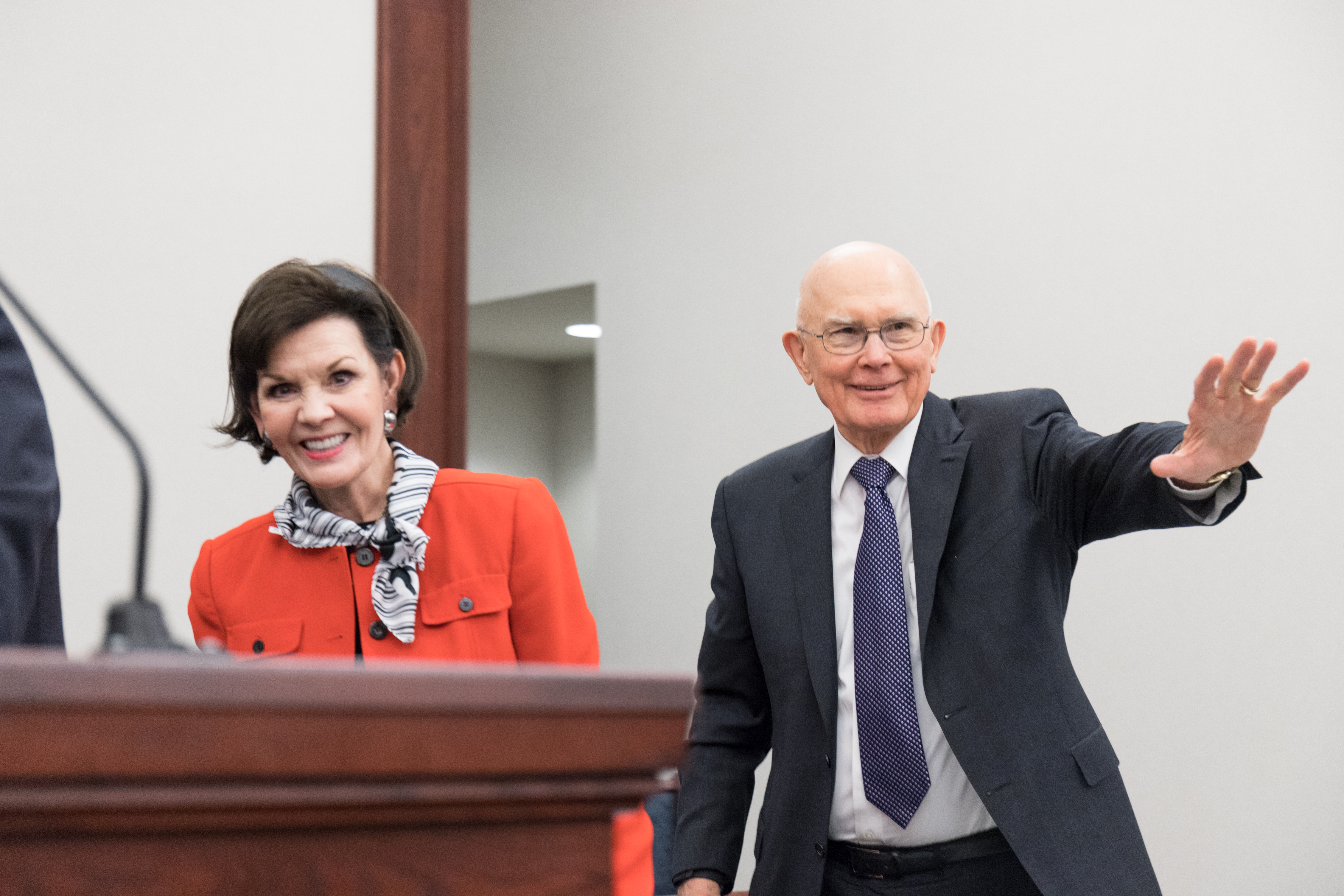 President Dallin H. Oaks and Sister Kristen Oaks bid farewell to audience members following Feb. 2, 2019, devotional for young married couples in downtown Chicago.