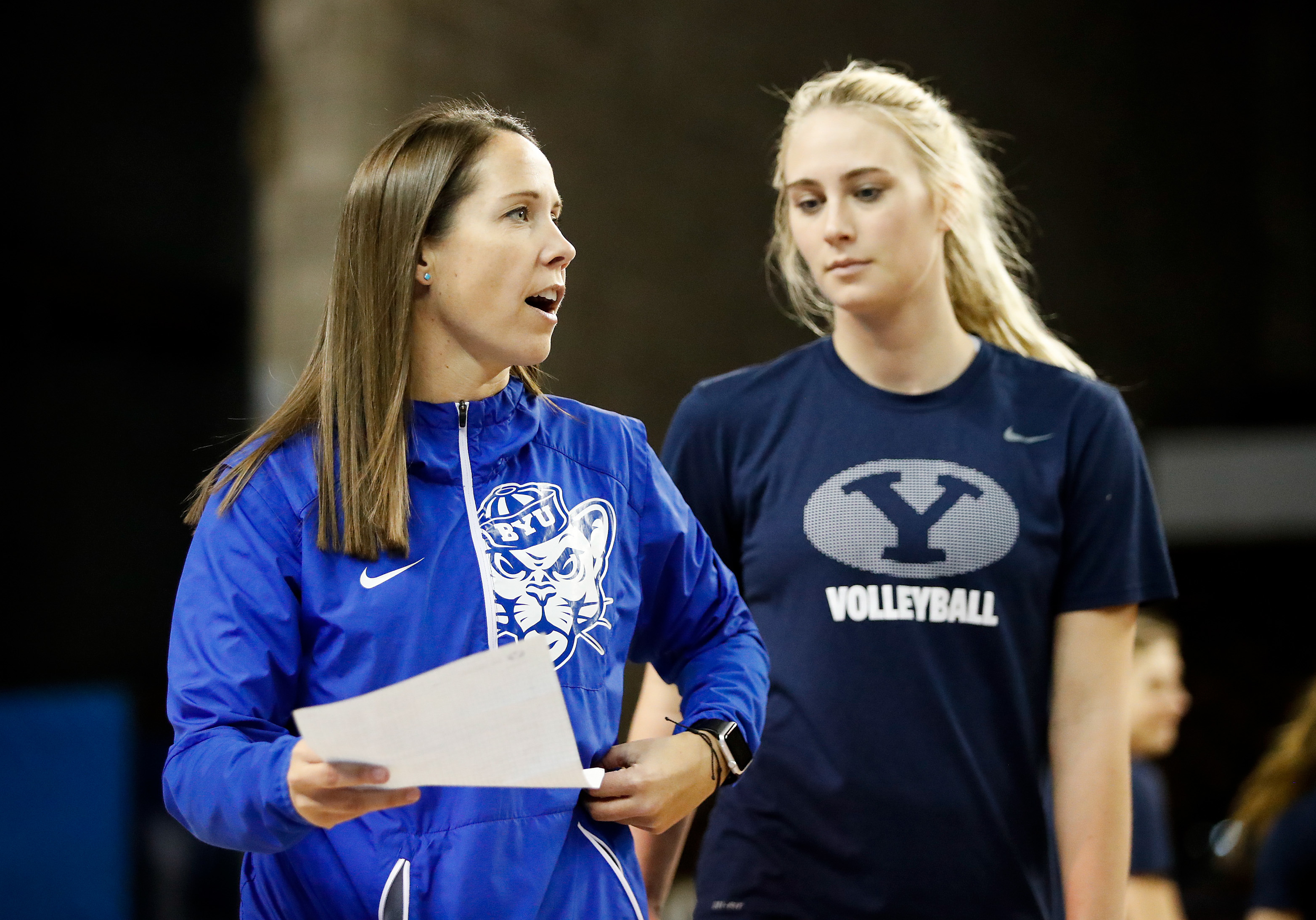BYU Head Coach Heather Olmstead directs BYU's practice. The BYU Women's Volleyball Team held a press conference and an open practice on Thursday December 7, 2017 in Lexington, Kentucky's Memorial Coliseum.