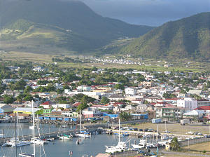 St. Kitts capital of Basseterre from harbor. Photo by Greg Hill.
