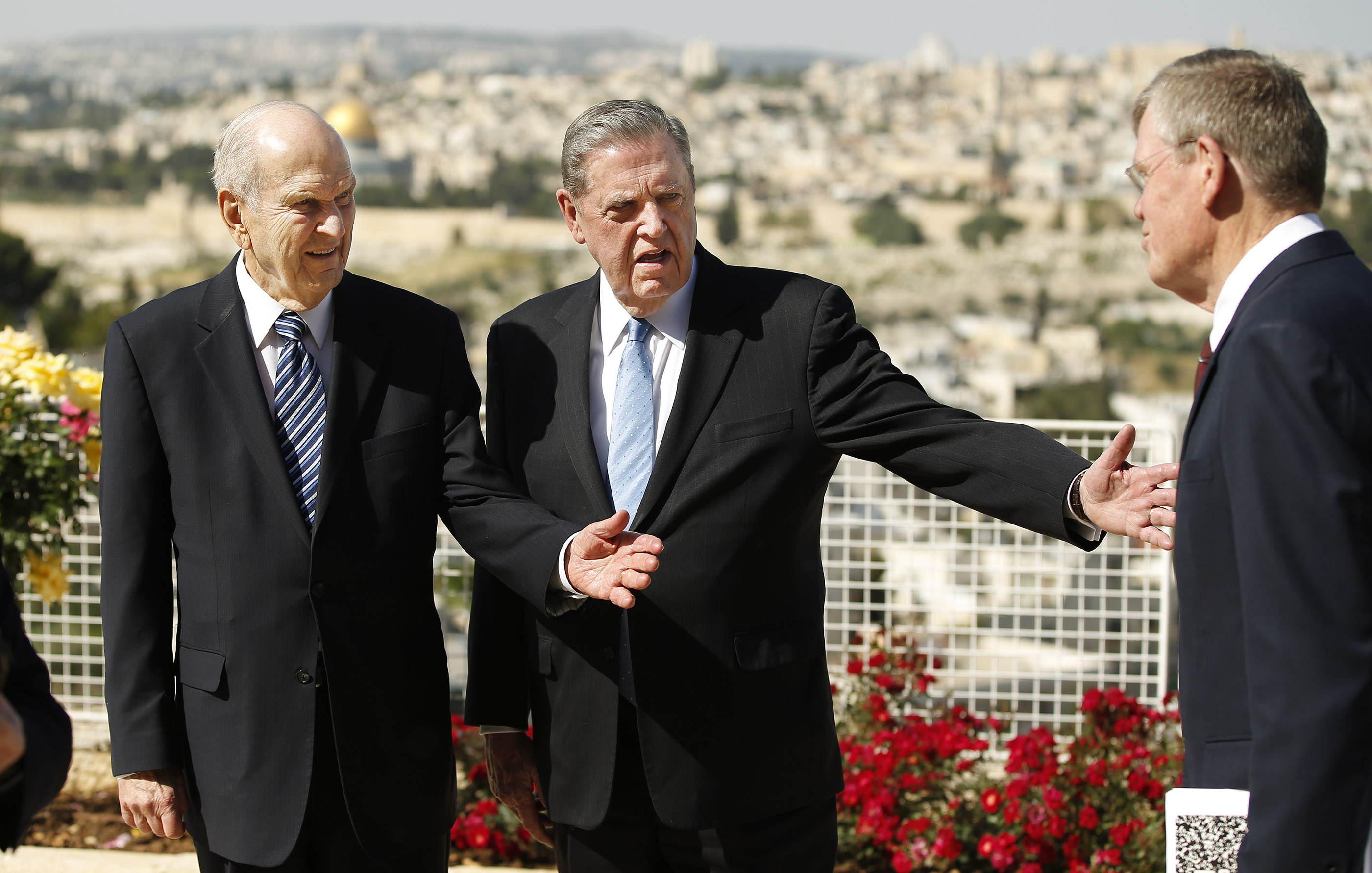 President Russell M. Nelson, president of The Church of Jesus Christ of Latter-day Saints, left, Elder Jeffrey R. Holland, of the Quorum of the Twelve Apostles, greet District President Dennis Brimhall at the BYU Jerusalem Center in Jerusalem on Saturday, April 14, 2018. President Nelson is on a global tour of eight countries.