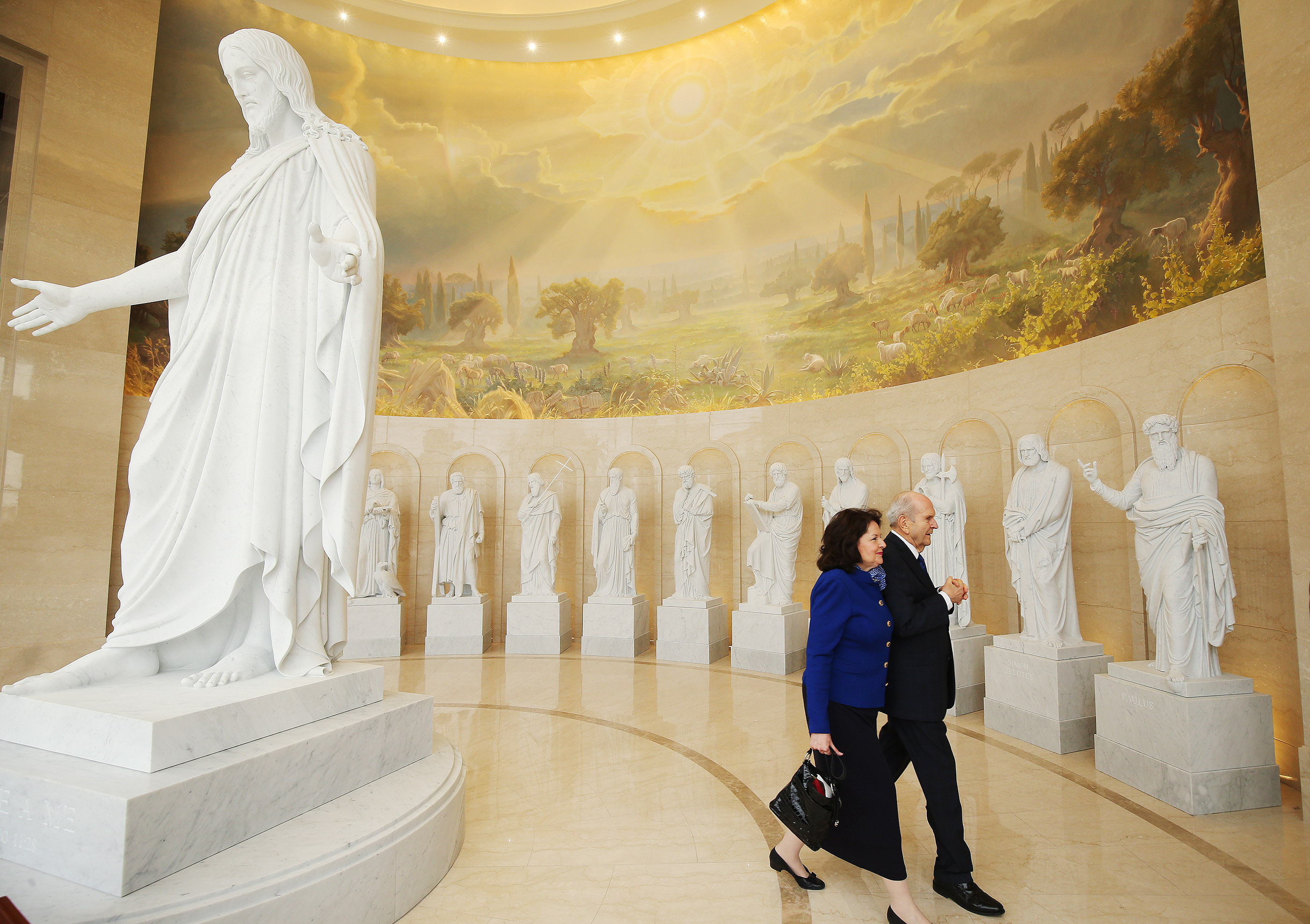 President Russell M. Nelson of The Church of Jesus Christ of Latter-day Saints walks with his wife Sister Wendy Nelson in the Rome Italy Temple visitors' center in Rome, Italy on Monday, March 11, 2019.