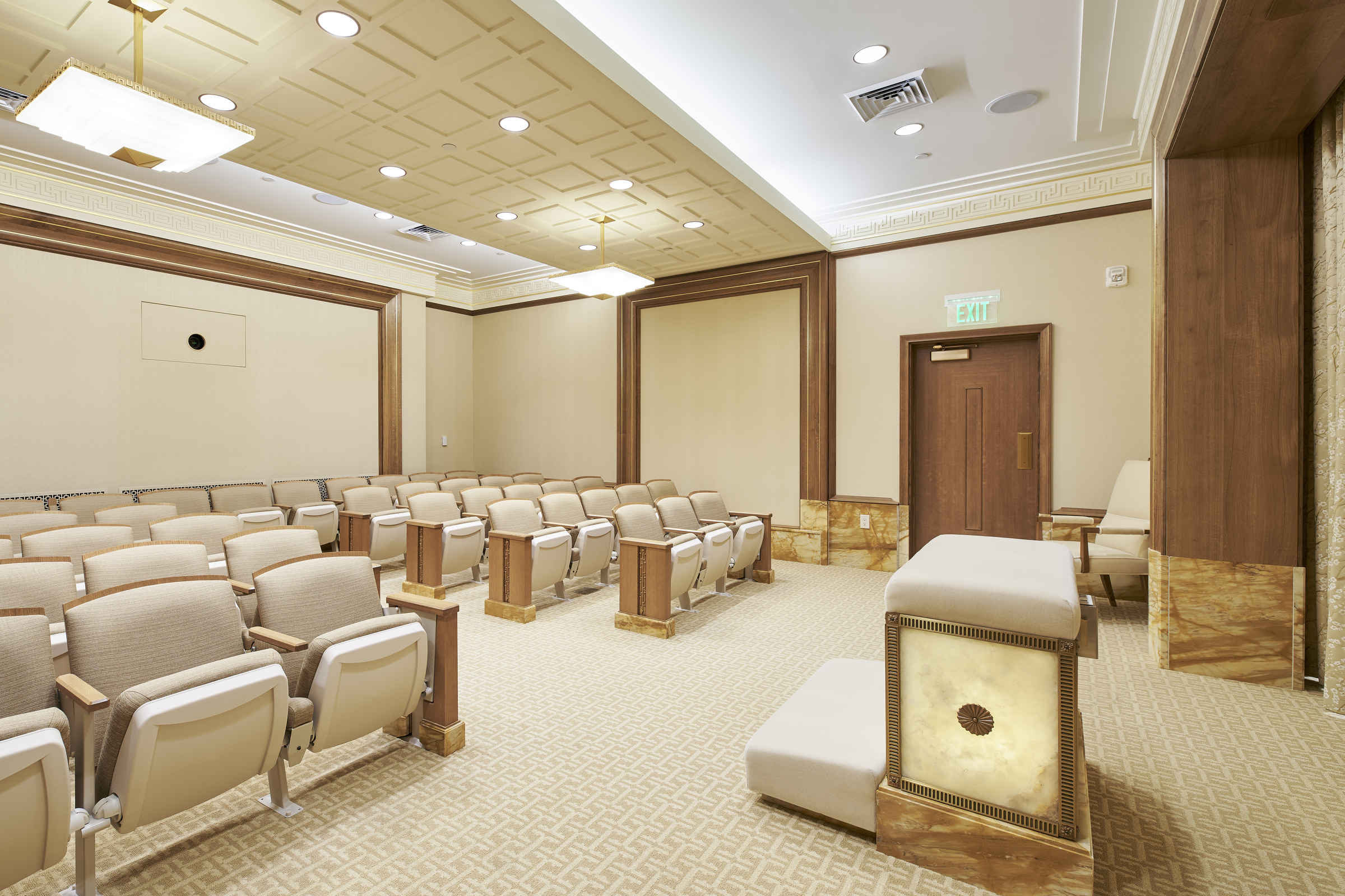 An instruction room in the newly renovated Oakland California Temple, of The Church of Jesus Christ of Latter-day Saints, in Oakland, Calif.