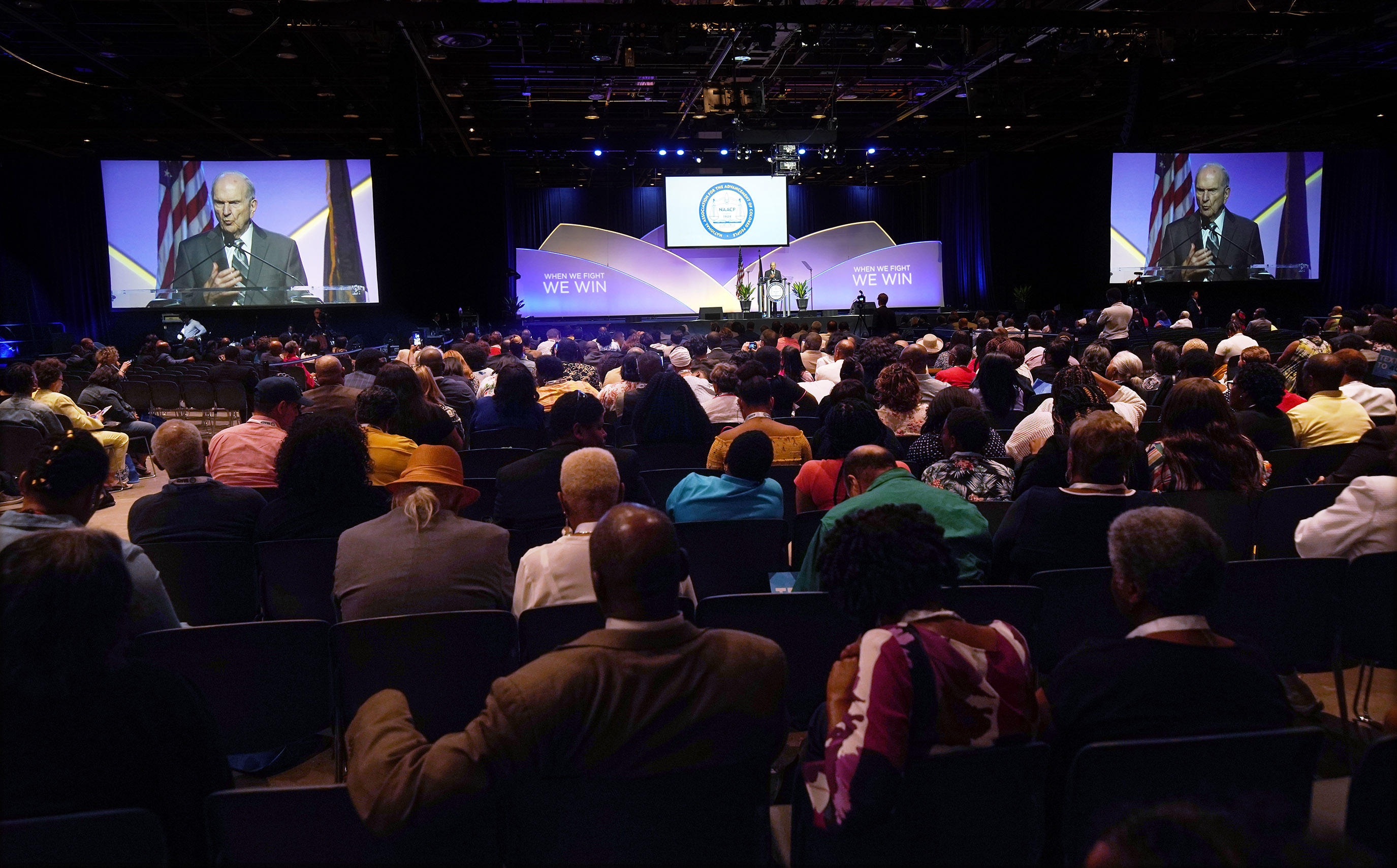 President Russell M. Nelson of The Church of Jesus Christ of Latter-day Saints speaks at the 110th annual national convention for the National Association for the Advancement of Colored People in Detroit on Sunday, July 21, 2019.