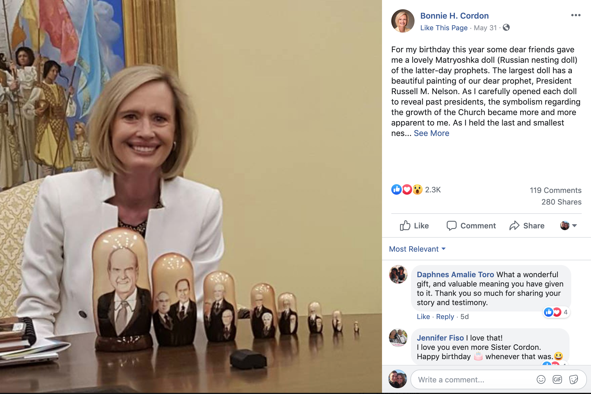 Sister Bonnie H. Cordon, the Church's Young Women general president, received a hand-painted Russian nesting doll for her birthday this year. The paintings on each of the pieces represent latter-day prophets from Joseph Smith to President Russell M. Nelson.