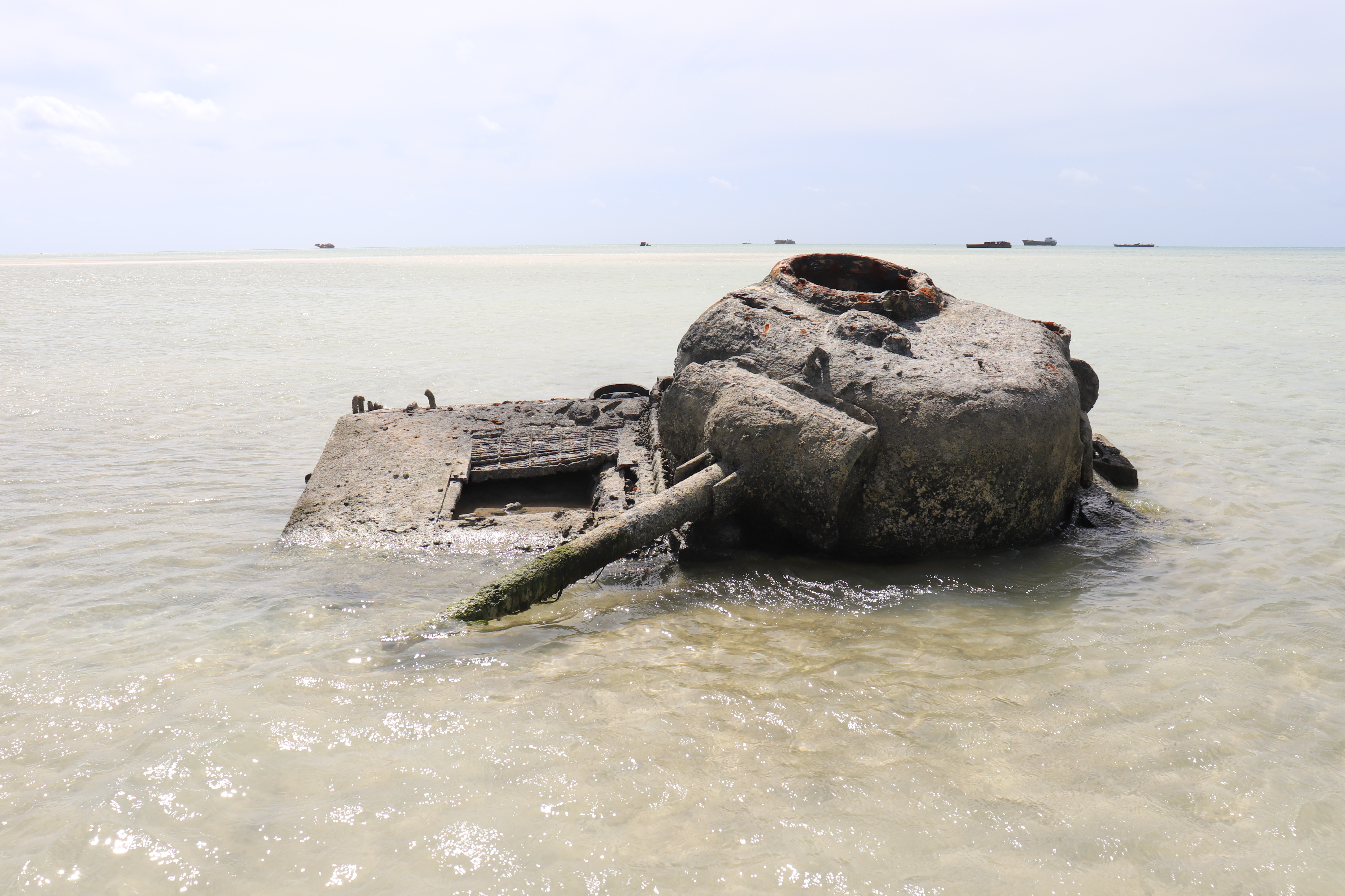 """In his BYU Education Week presentation, """"Sacred Relics of the Restoration,"""" Casey Griffiths told about seeing this tank on the beach of Tarawa, an island in the Pacific Ocean. The tank was used in a bloody battle between U.S. Marines and the Japanese in World War II."""