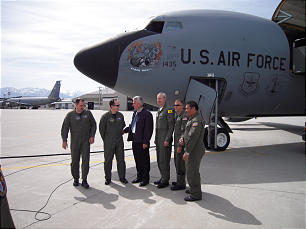 When President Dieter F. Uchtdorf, third from left, visited the Utah Air National Guard base last May, he took a flight on the KC-135 tanker.
