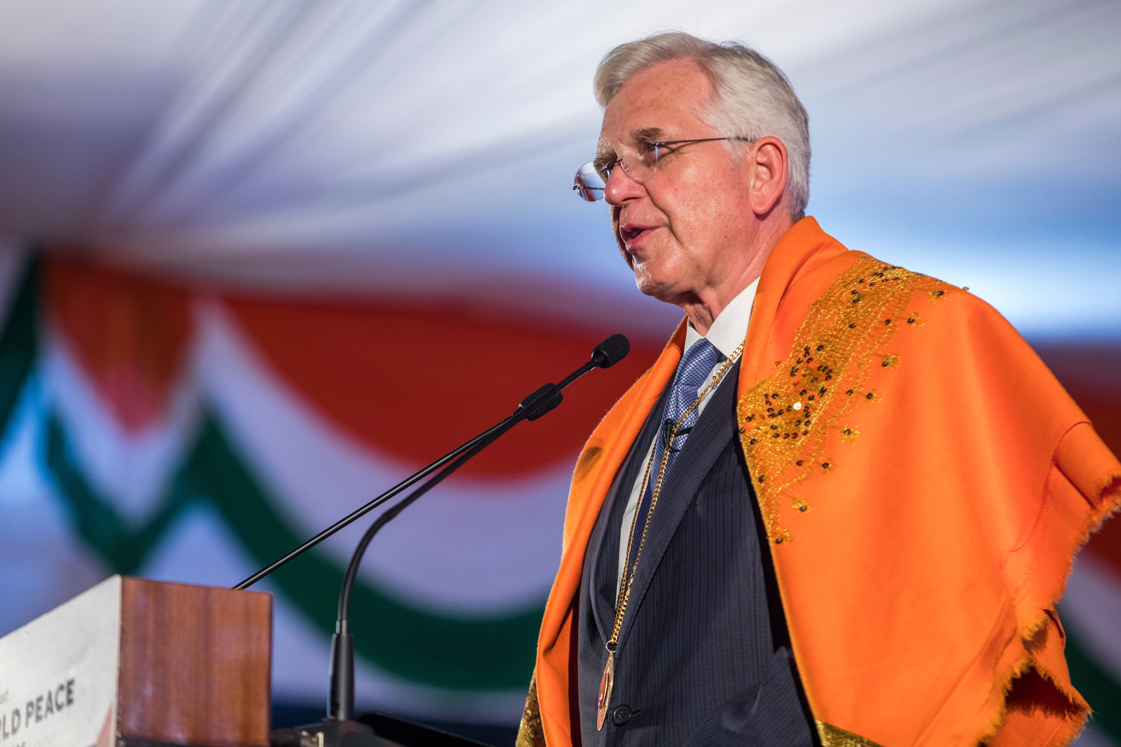 Elder D. Todd Christofferson, a member of the Quorum of Twelve Apostles of The Church of Jesus Christ of Latter-day Saints, speaks after receiving the 2017 Philosopher Saint Shri Dnyaneshwara World Peace Prize during an award ceremony at the MIT World Peace University in Pune, Maharashtra, India on August 14, 2017.