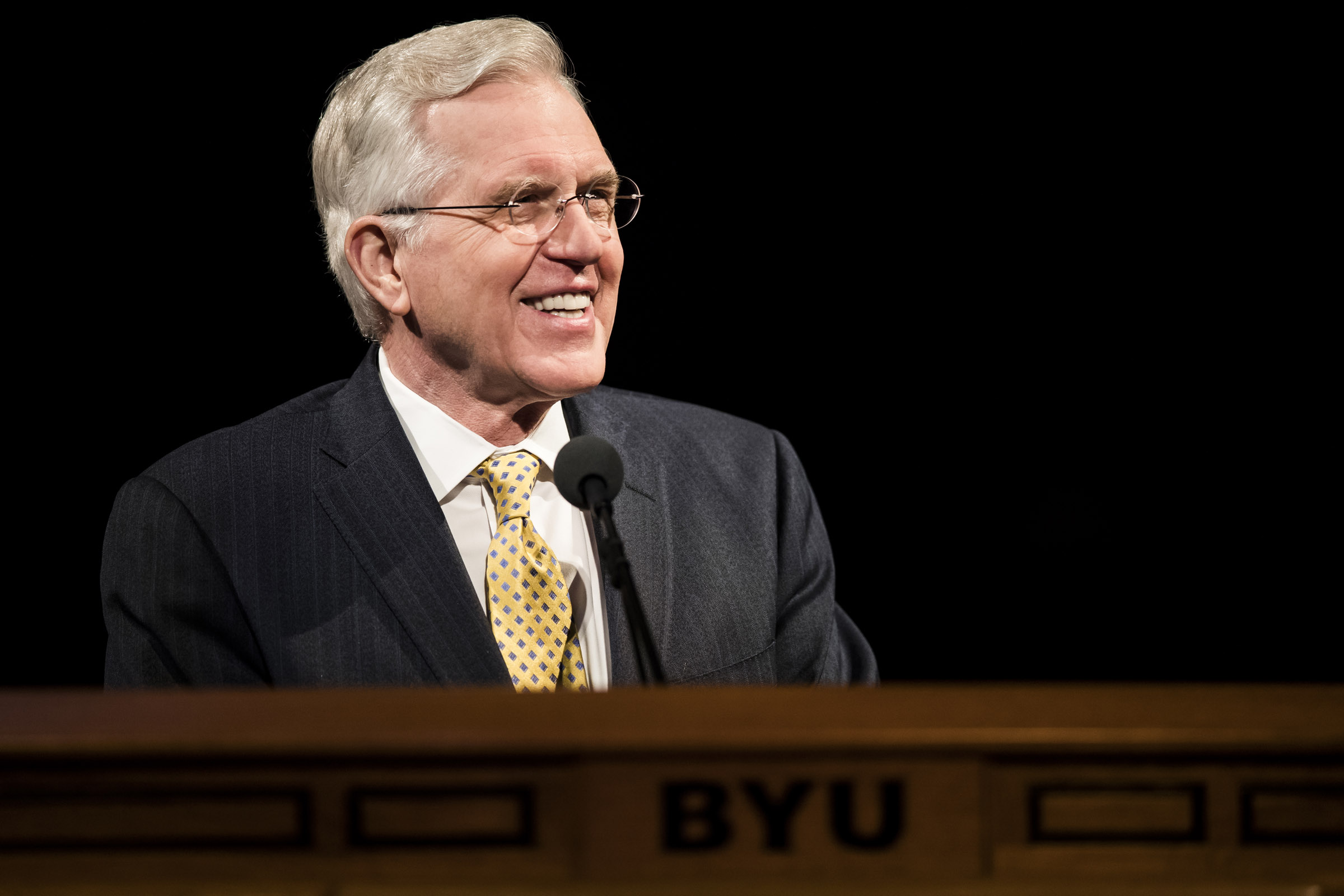 Elder D. Todd Christofferson speaks at a devotional at Brigham Young University in Provo on Dec. 12, 2017.