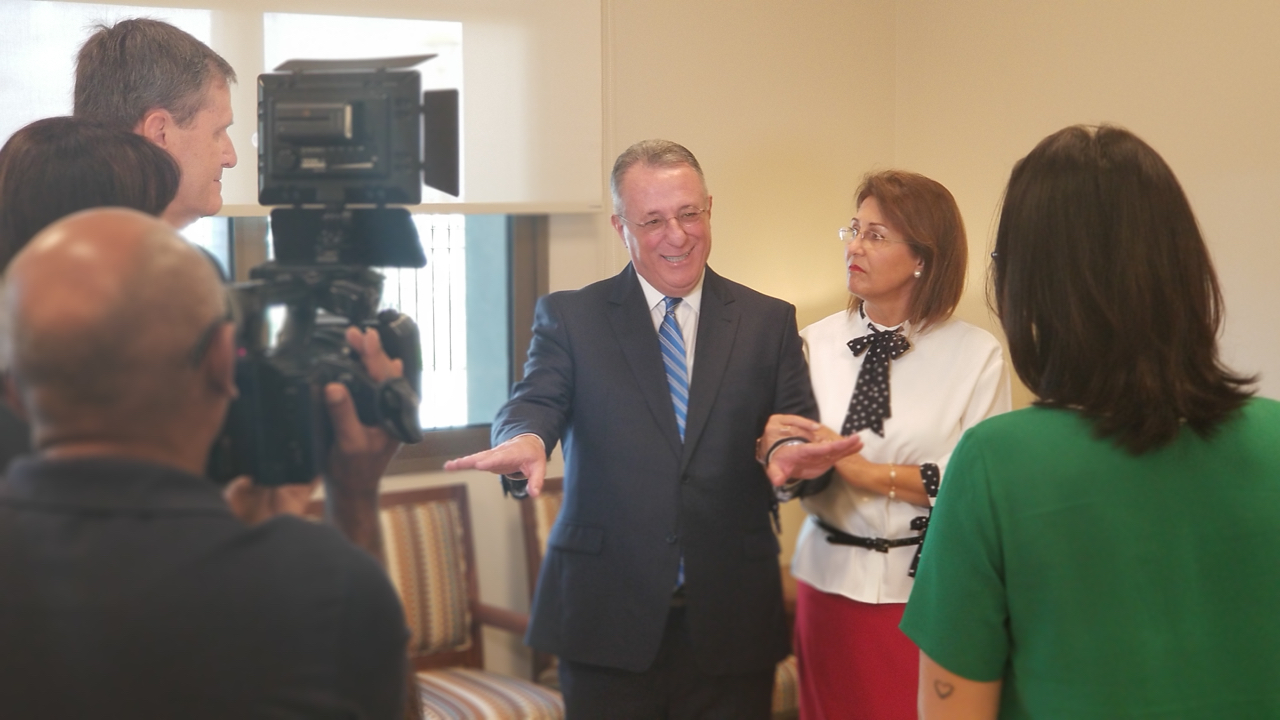 Elder Ulisses Soares of the Quorum of the Twelve Apostles and his wife, Sister Rosana Soares, are interviewed by local media on Saturday, June 1, 2019, in Fortaleza, Brazil, a day before the dedication of the temple in that city.