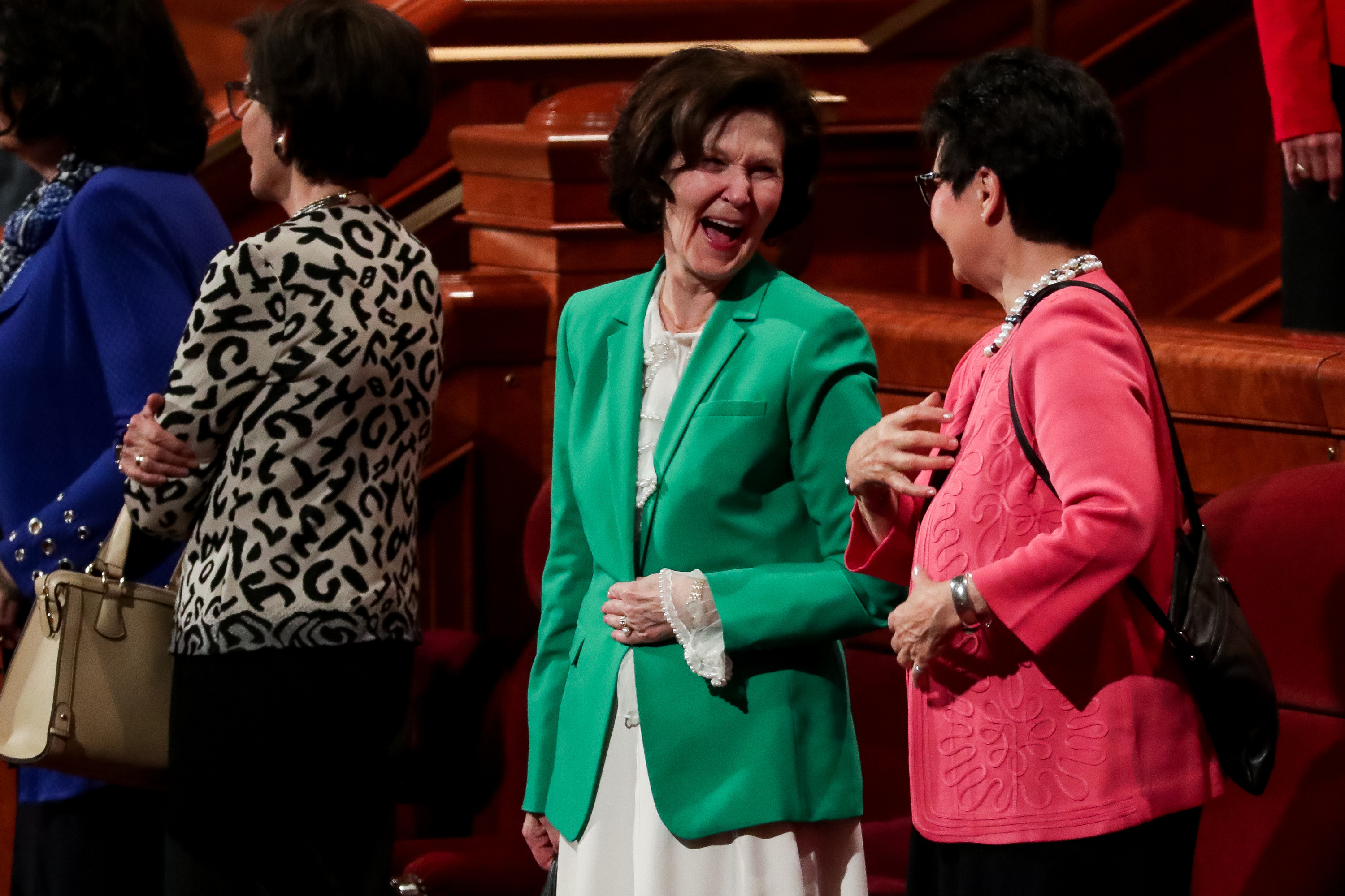 Sister Patricia Holland, wife of Elder Jeffrey R. Holland, and Sister Harriet Uchtdorf, wife of Elder Dieter F. Uchtdorf, right, chat at the end of the Saturday afternoon session of the 188th Semiannual General Conference of The Church of Jesus Christ of Latter-day Saints in the Conference Center in Salt Lake City on Saturday, Oct. 6, 2018.