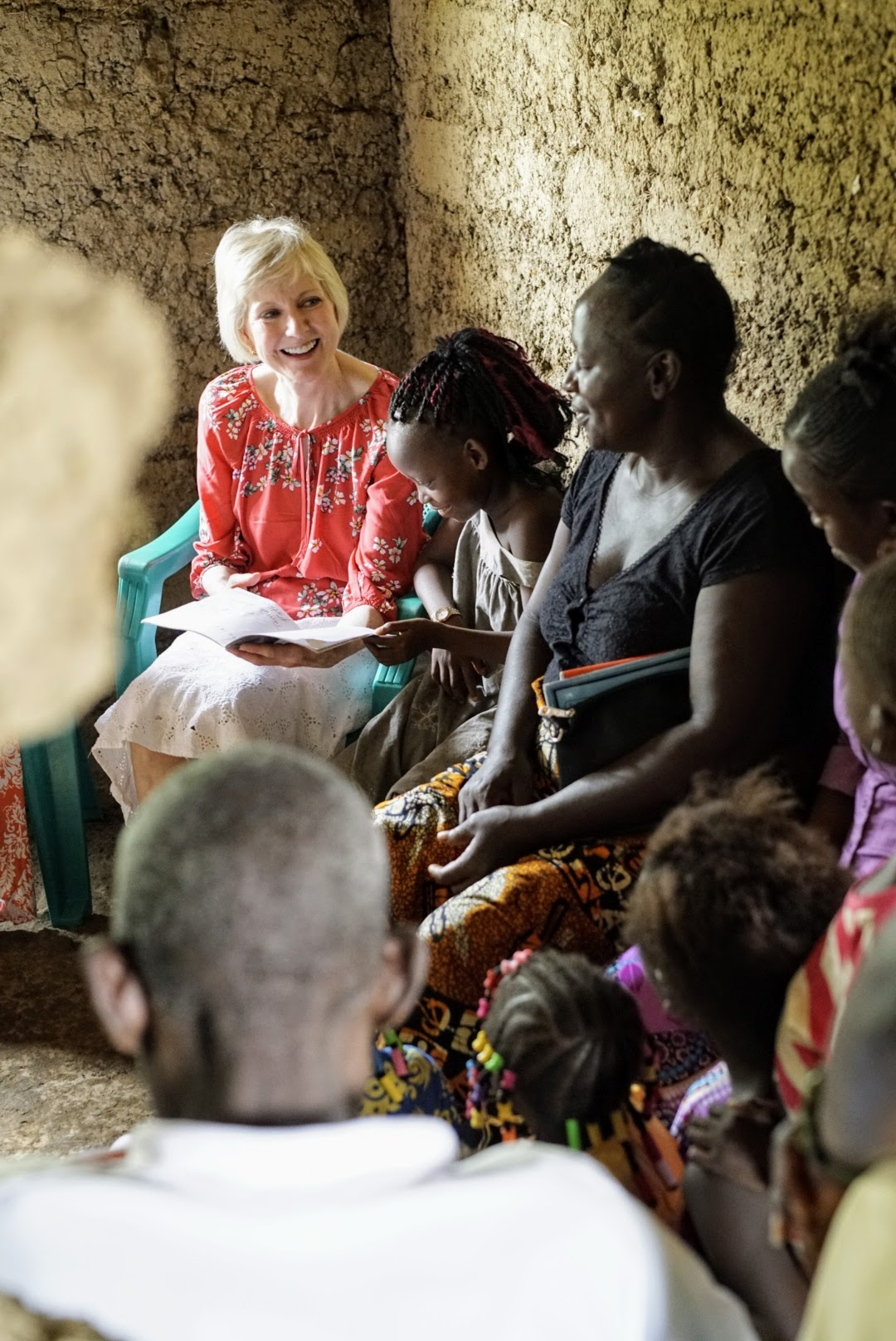 Sister Jean B. Bingham meets with members in their home in Sierra Leone during a recent 11-day trip from June 5 through June 16, 2019, to the West African country.