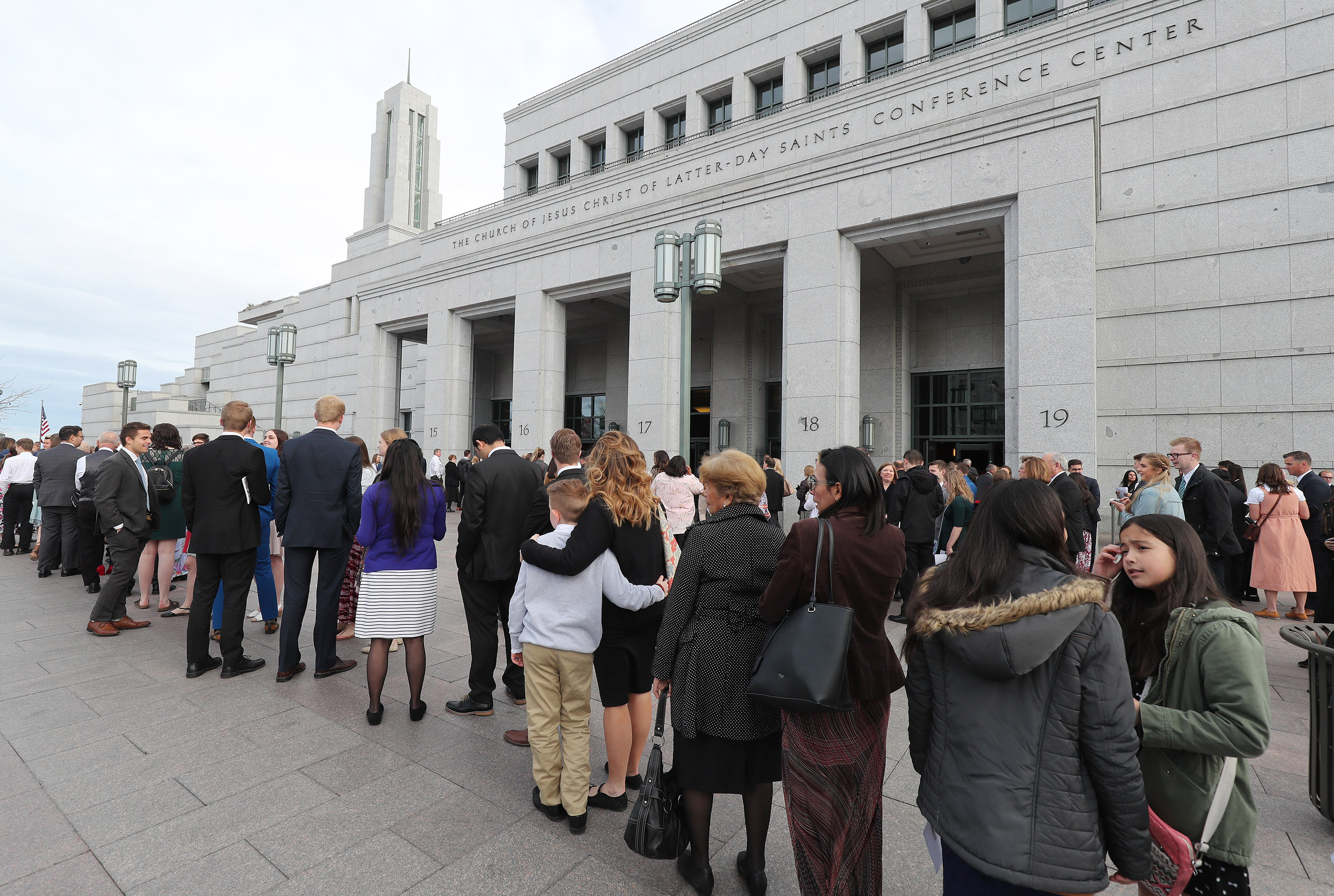 Conferencegoers line up at the Conference Center for the 189th Annual General Conference of The Church of Jesus Christ of Latter-day Saints in Salt Lake City on Sunday, April 7, 2019.