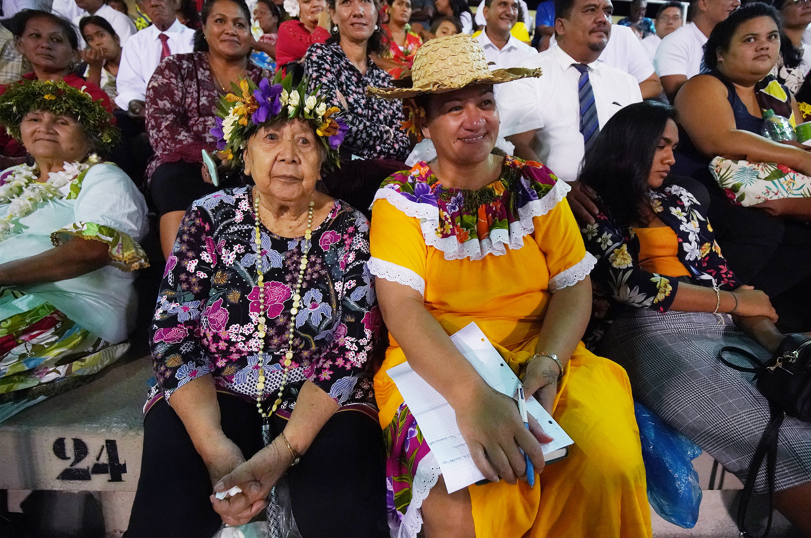 Attendees listen to speakers during a devotional in Papeete, Tahiti, on May 24, 2019.