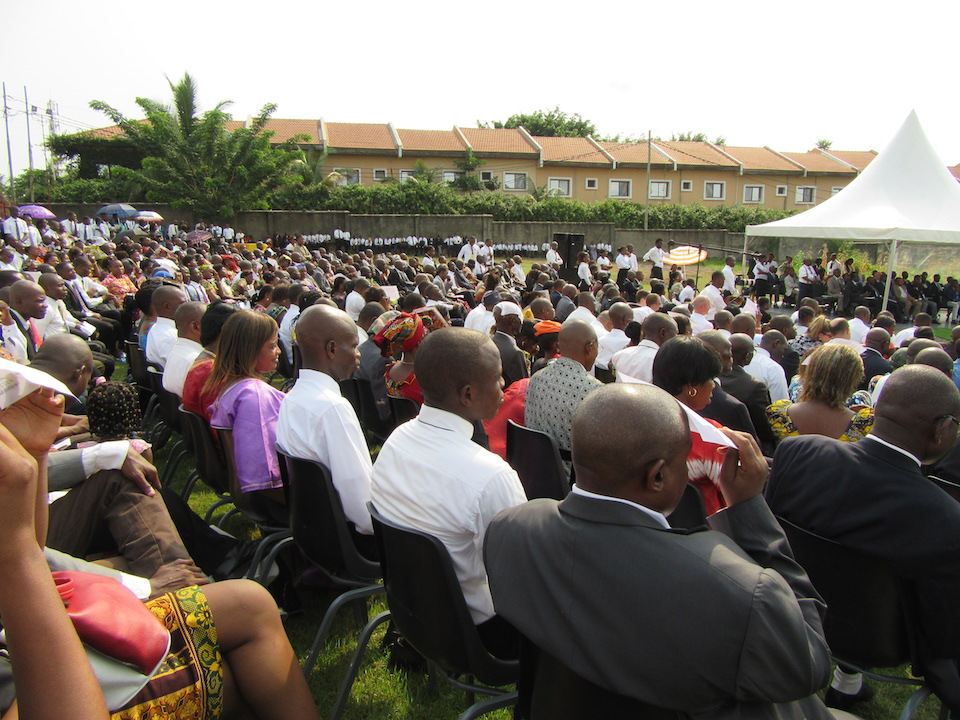 Latter-day Saints gathered on Friday, February 12, 2016, in central Africa for the groundbreaking of the Kinshasa Democratic Republic of the Congo Temple. (Photo: © 2016 Intellectual Reserve, Inc. All rights reserved)