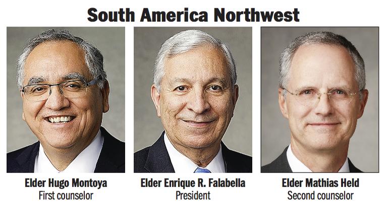 South America Northwest Area presidency: Elder Enrique R. Falabella, Elder Hugo Montoya and Elder Mathias Held.