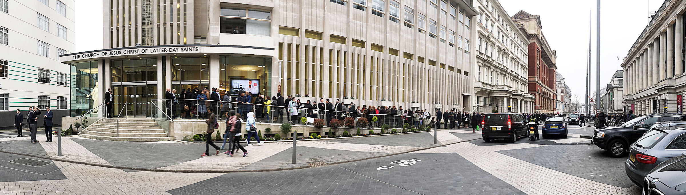 People line up to enter a meeting with President Russell M. Nelson at the Hyde Park Chapel in London on Thursday, April 12, 2018.