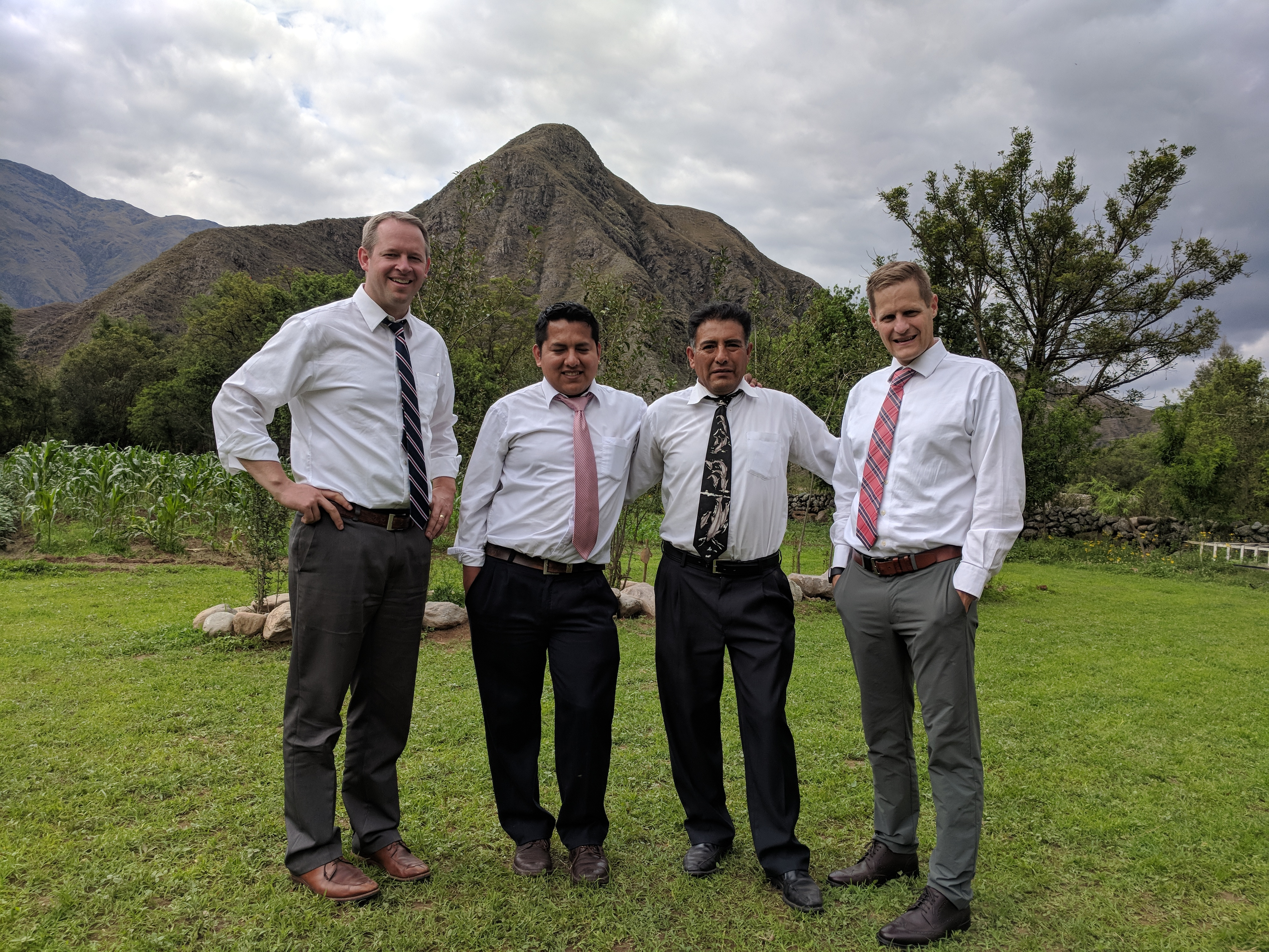 From left: David McConkie, Franz Sanchez, Naval Sanchez and Kevin Burke in the mountains outside of Tarija, Bolivia. McConkie and Burke taught and baptized the Sanchez family 20 years ago and returned to visit them in October this year.