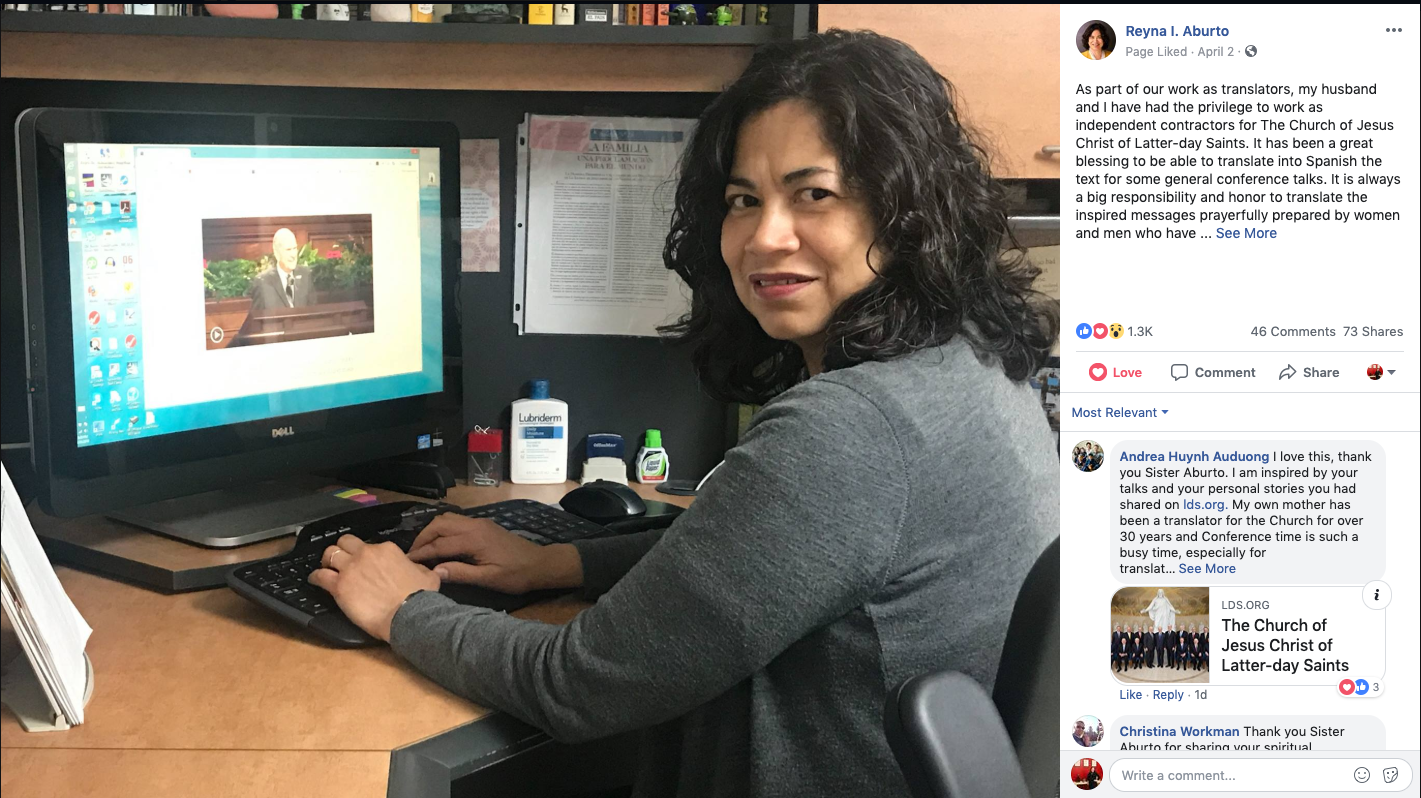 """It has been a great blessing to be able to translate into Spanish the text for some general conference talks,"" Sister Reyna I. Aburto wrote in an April 2 Facebook post. ""Translating their messages is certainly a spiritual experience."""