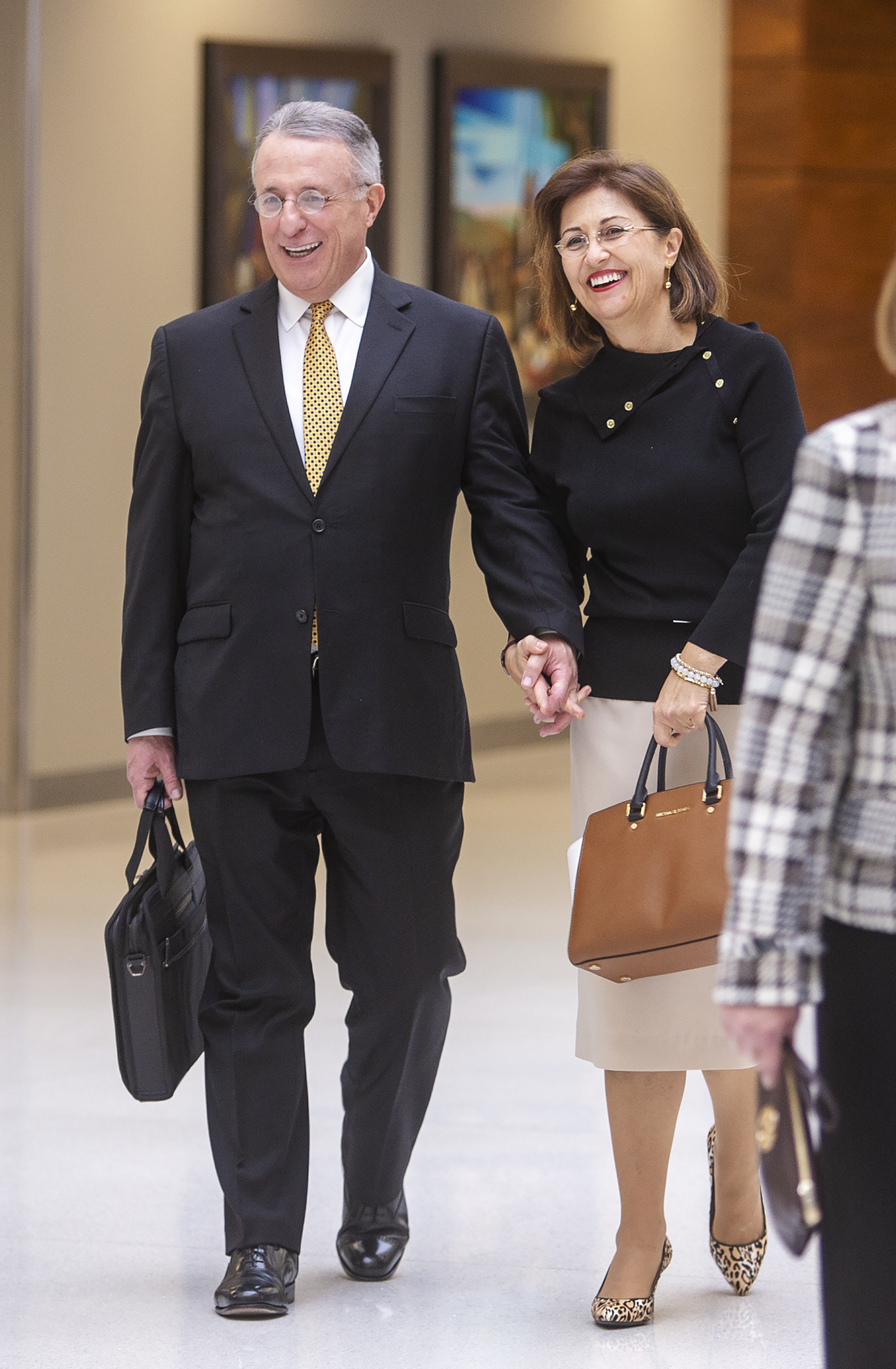 Elder Ulisses Soares of the Quorum of the Twelve Apostles and his wife, Sister Rosana Soares, arrive for the rededication prayer for the Caroline Hemenway Harman Building at BYU in Provo, Utah, on Tuesday, Feb. 5, 2019.
