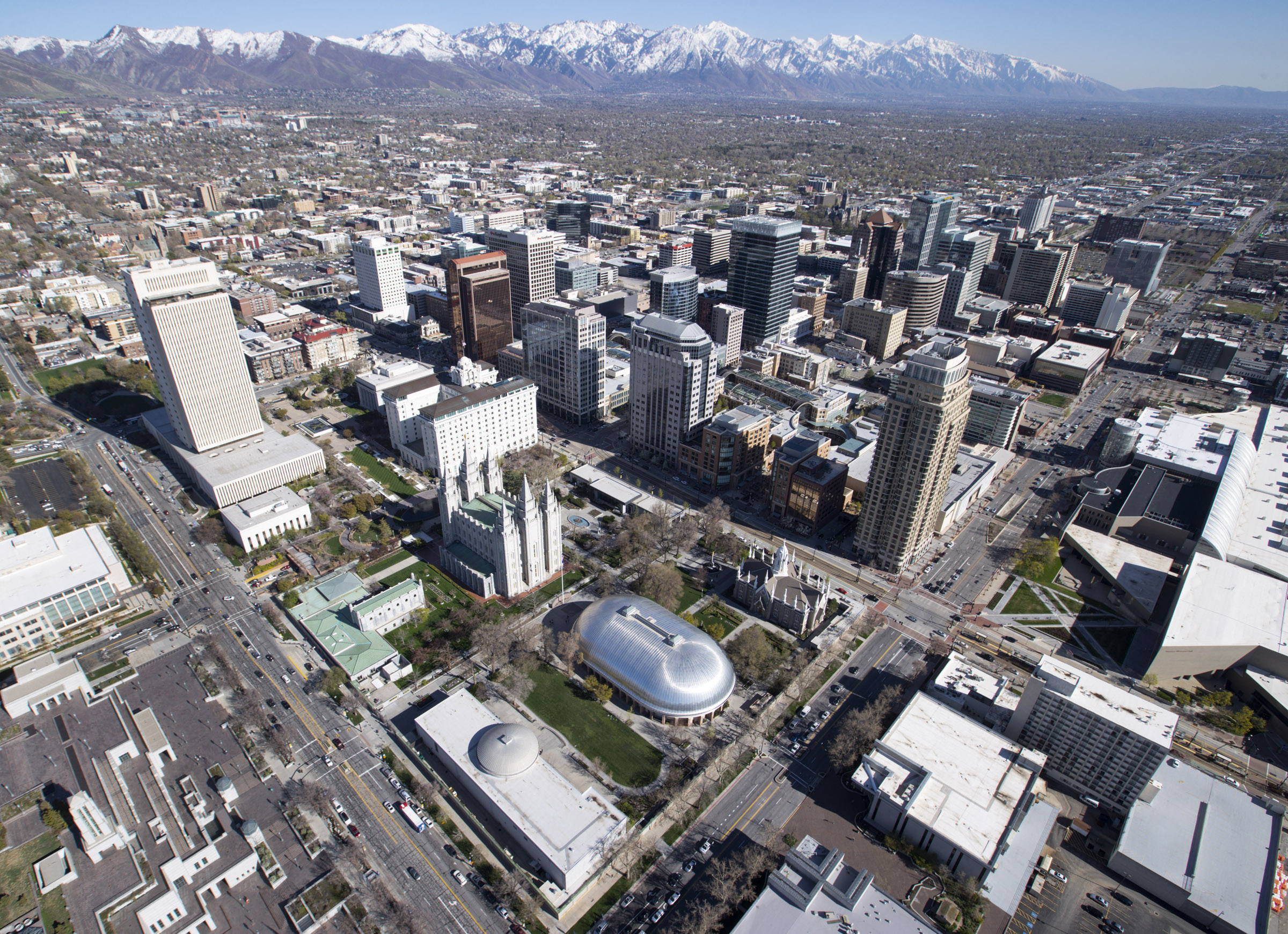 Temple Square and downtown Salt Lake City on Thursday, April 18, 2019. Leaders of The Church of Jesus Christ of Latter-day Saints discontinued a policy Monday morning, May 6, requiring couples who marry civilly to wait one year before being sealed in the temple.