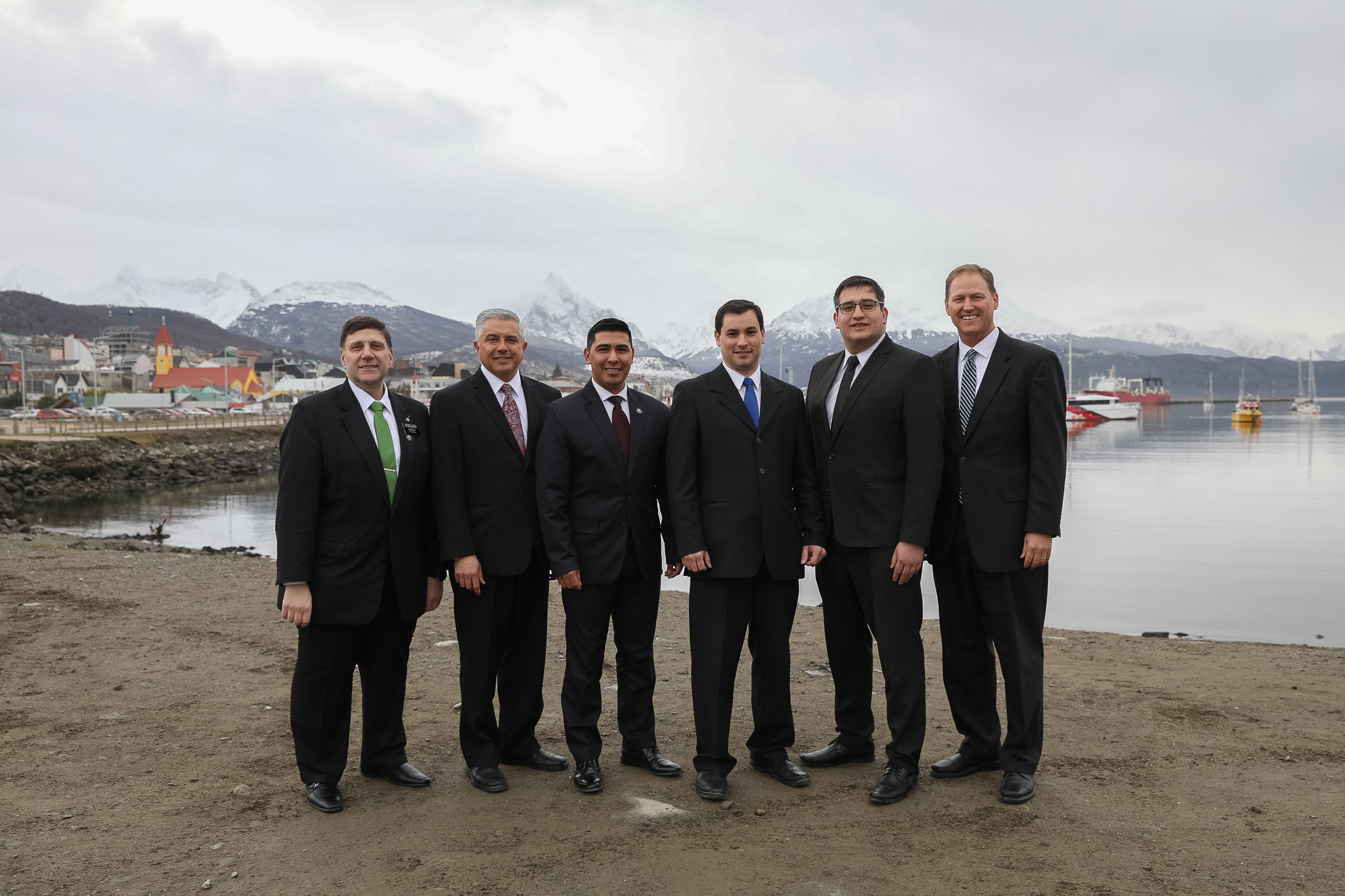 Elder Mark A. Bragg, right, stands with the new Tierra del Fuego Argentina stake presidency and other Church leader in Ushuaia, Argentina on June 2, 2019.