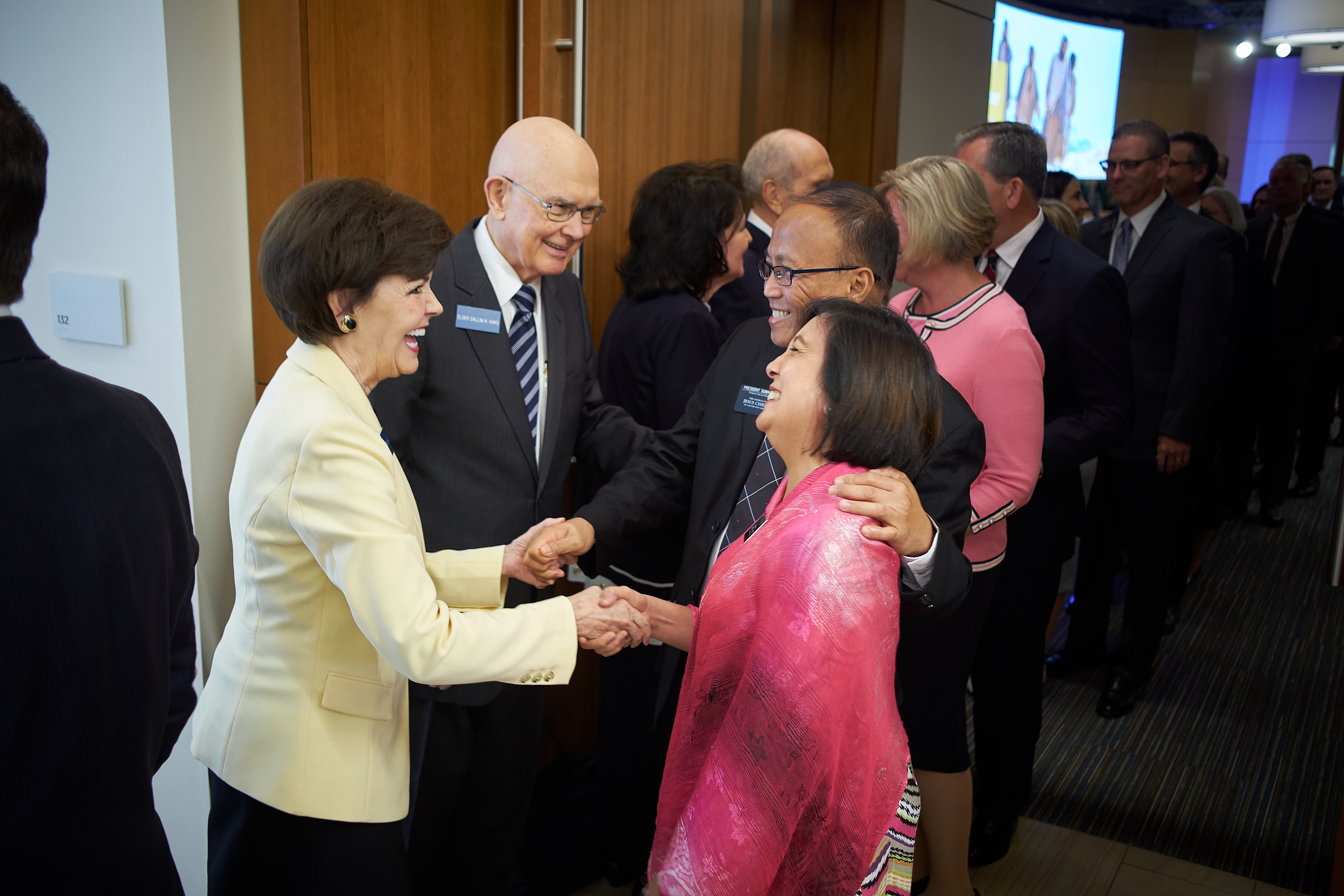 President Dallin H. Oaks of the First Presidency and his wife, Sister Kristen Oaks, greet new mission presidents and their wives during the Mission Leadership Seminar held in the Provo MTC June 24-26.