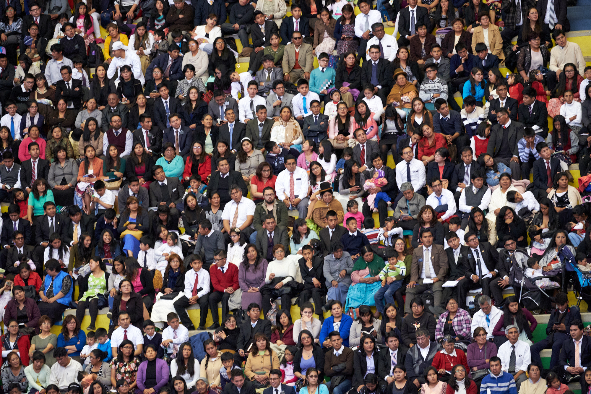 Thousands of Latter-day Saints in Bolivia listen to their prophet, President Russell M. Nelson, during a Sunday devotional, Oct. 21, 2018, in the Polideportivo Heroes de Octobre in El Alto, Bolivia. Many more members of the Church watched via a country-wide broadcast.