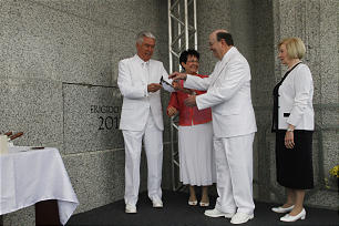 President Dieter F. Uchtdorf participates in the cornerstone ceremony of the Manaus Brazil Temple Sunday, June 10, 2012.