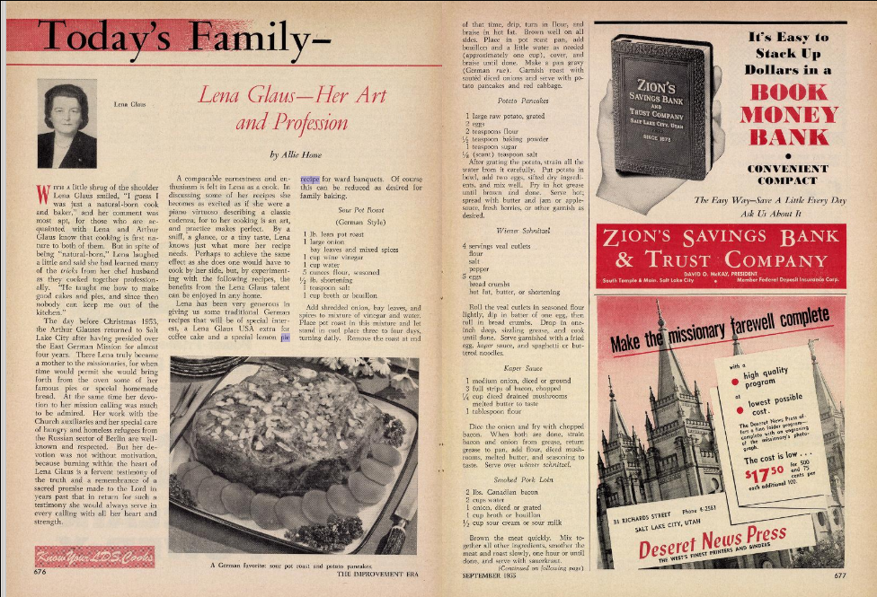 A screenshot from the September 1955 issue of The Improvement Era from archive.org, featuring Lena Glaus — Her Art and Profession by Allie Howe. The article includes a recipe for 15 lemon meringue pies.