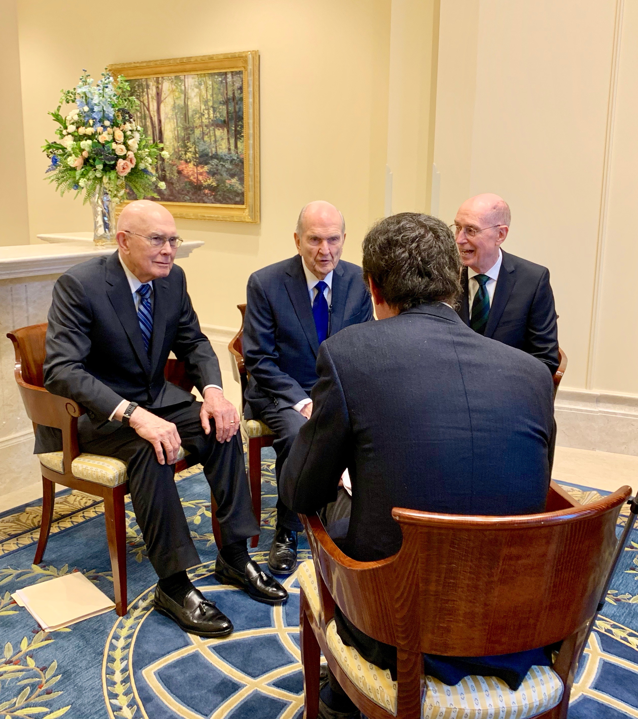 President Dallin H. Oaks, President Russell M. Nelson and President Henry B. Eyring talk with La Stampa correspondent Paolo Mastrolilli during the reporter's exclusive interview of the First Presidency of The Church of Jesus Christ of Latter-day Saints in the Rome Italy Temple on Monday, March 11, 2019.