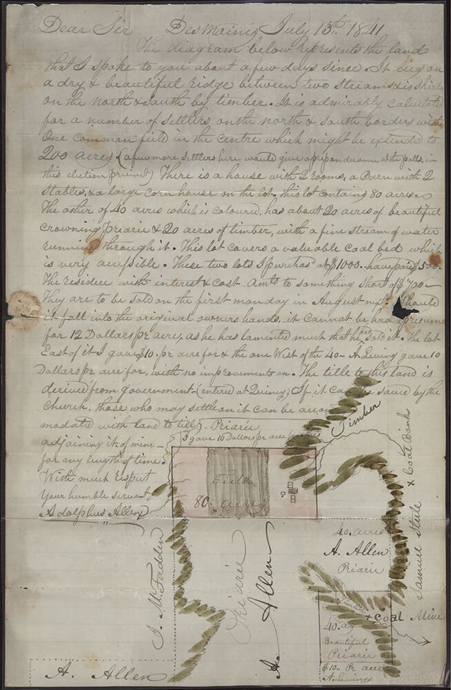 This letter from Adolphus Allen, dated July 13, 1841, offers to sell land in the area to Joseph Smith.