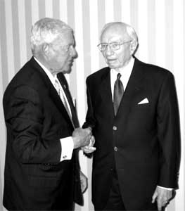 President Hinckley greets Franklin E. Ulf, a World Affairs Council member and chairman of the board of U.S. Trust Company.