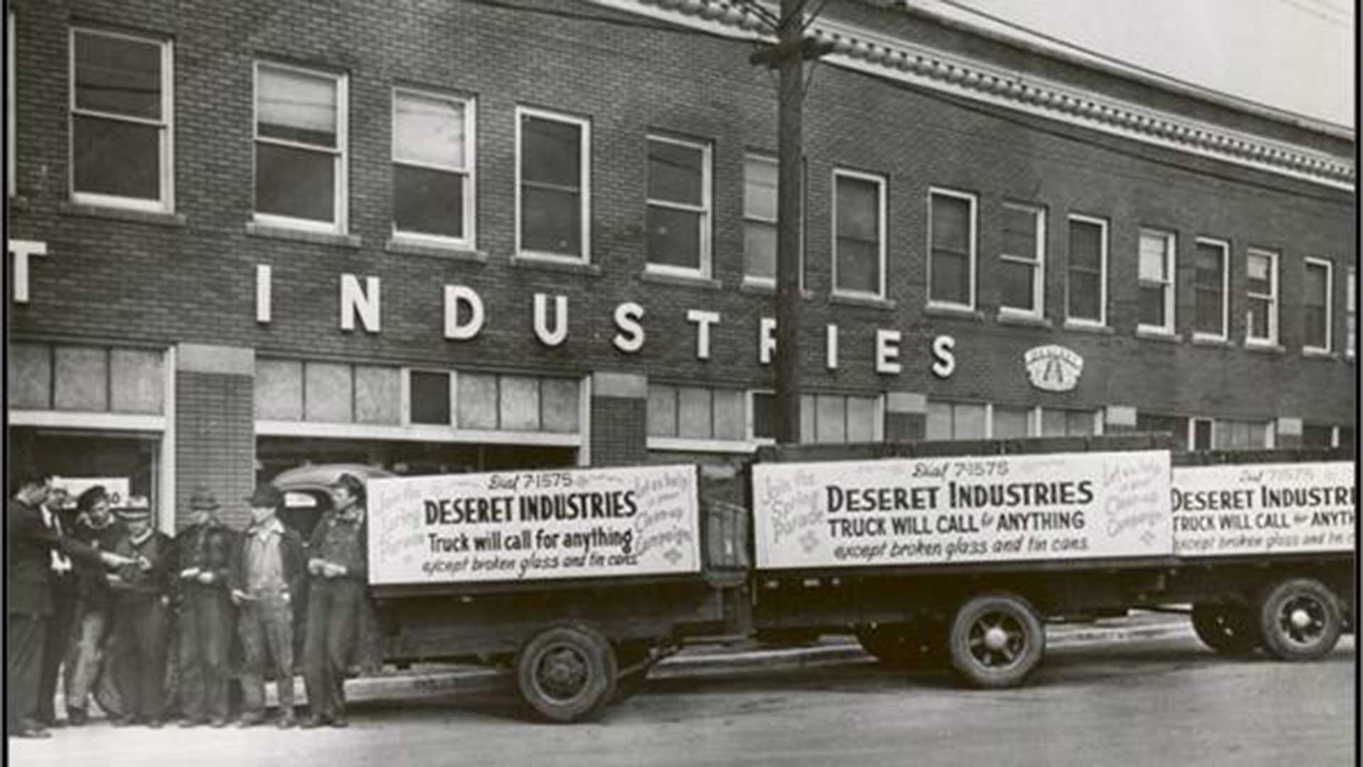 Stewart B. Eccles, Deseret Industries manager, instructs truck drivers at the Sugarhouse Deseret Industries in 1941.
