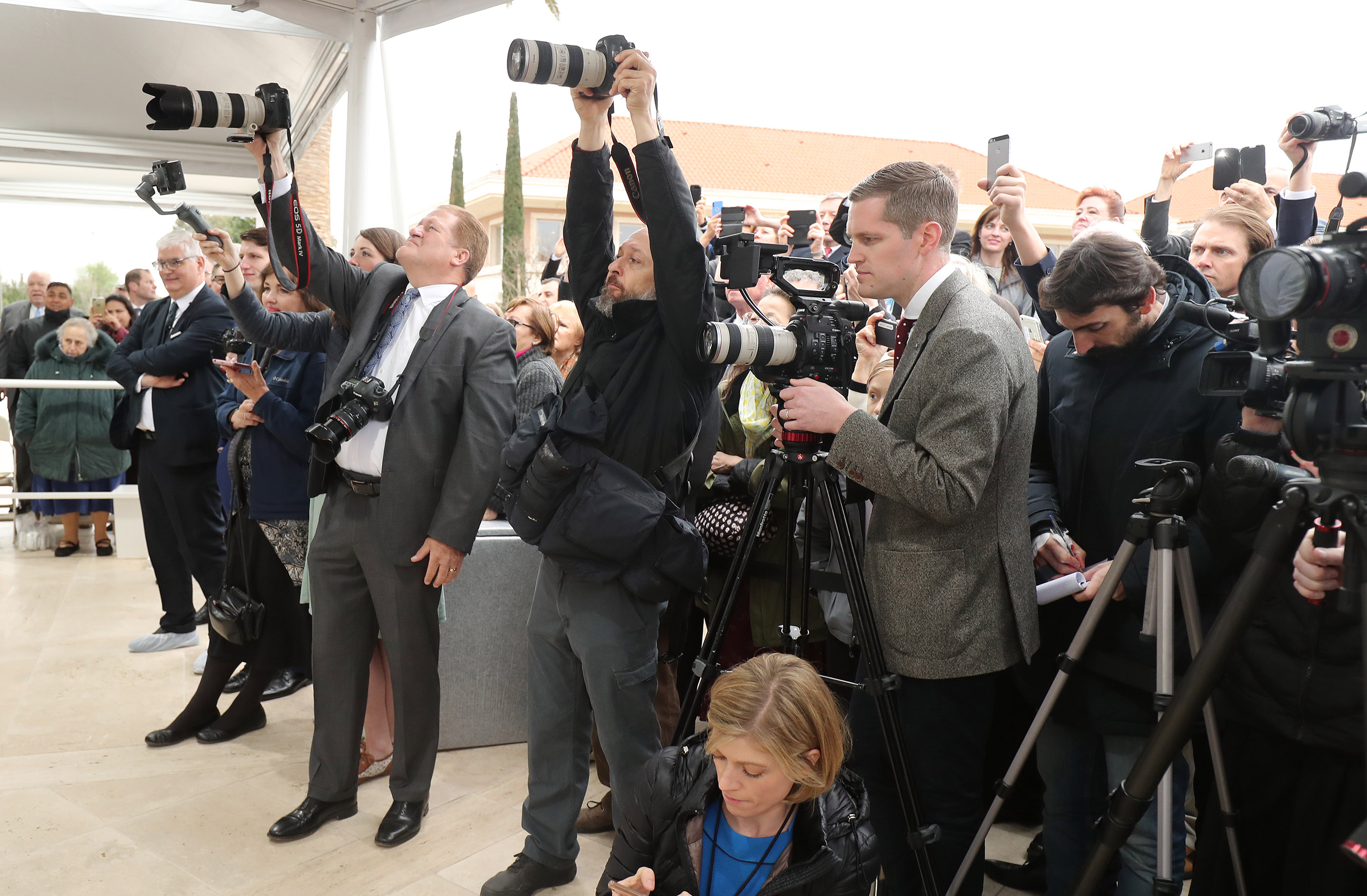 Photos are shot during the cornerstone ceremony for the dedication of the Rome Italy Temple of The Church of Jesus Christ of Latter-day Saints in Rome, Italy, on Sunday, March 10, 2019.