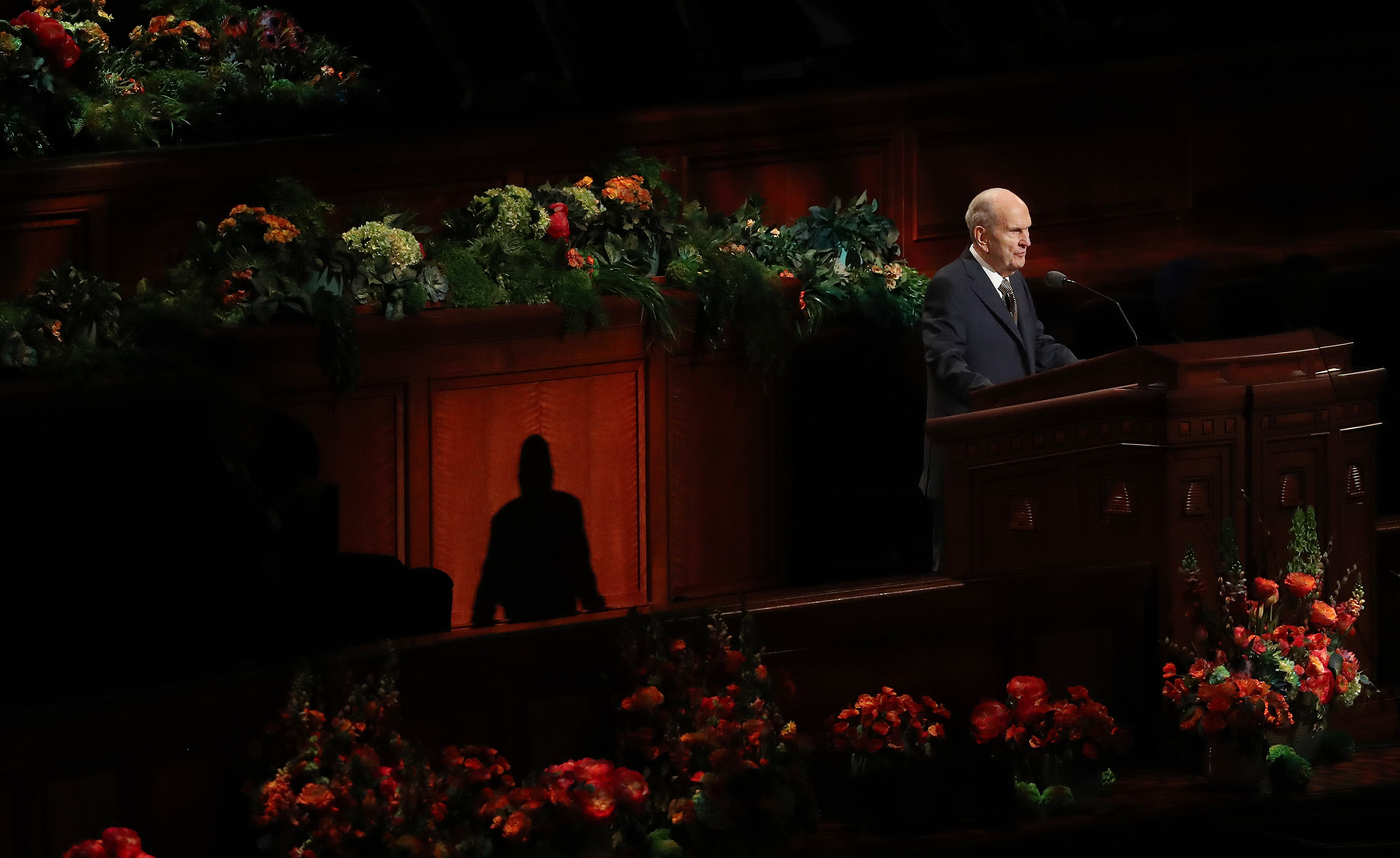 President Russell M. Nelson of The Church of Jesus Christ of Latter-day Saints speaks at the close of the 189th Annual General Conference of The Church of Jesus Christ of Latter-day Saints in Salt Lake City on Sunday, April 7, 2019.