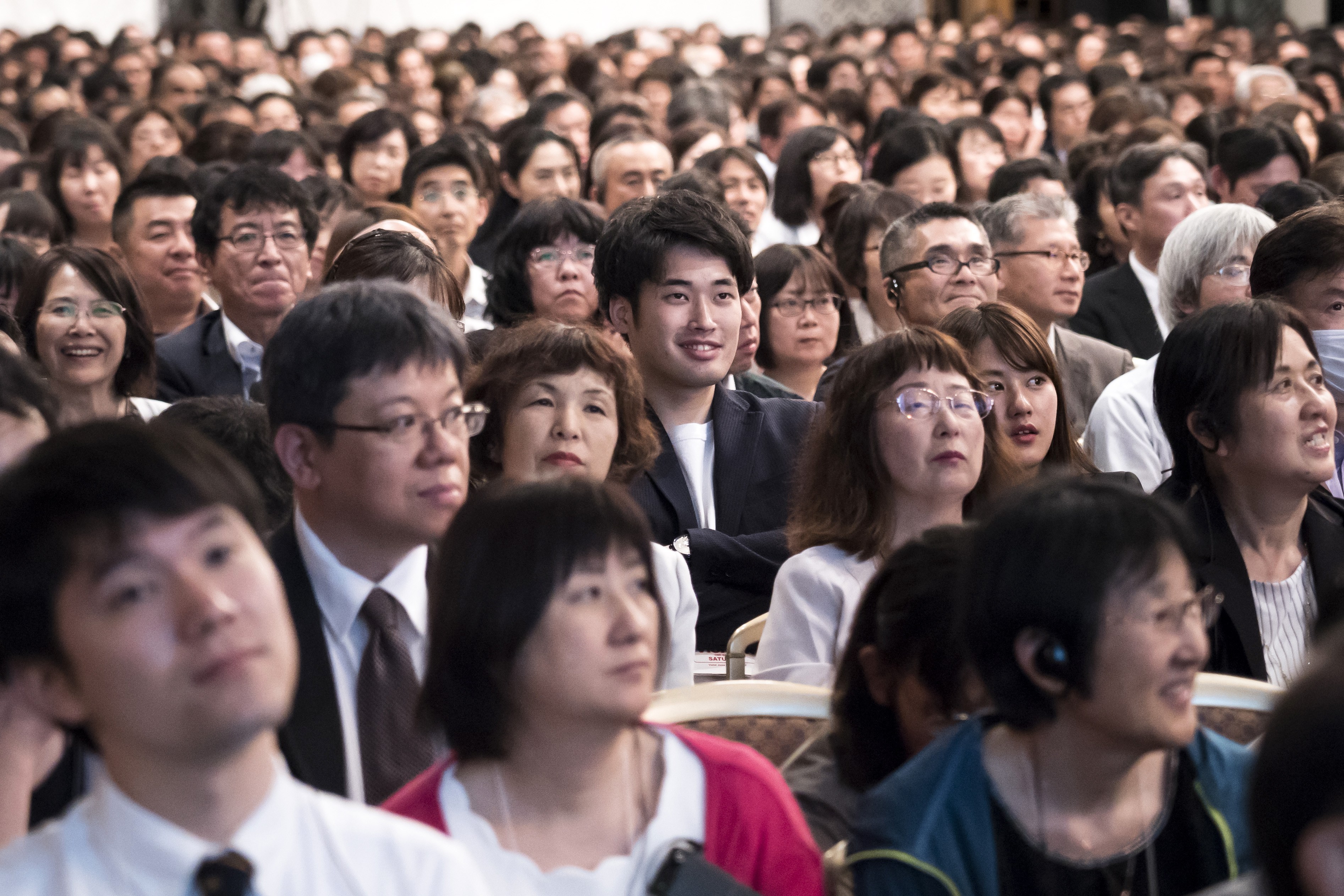 Attendees listen to a speech during the G20 Interfaith Forum in Chiba, Japan, on Saturday, June 8, 2019.