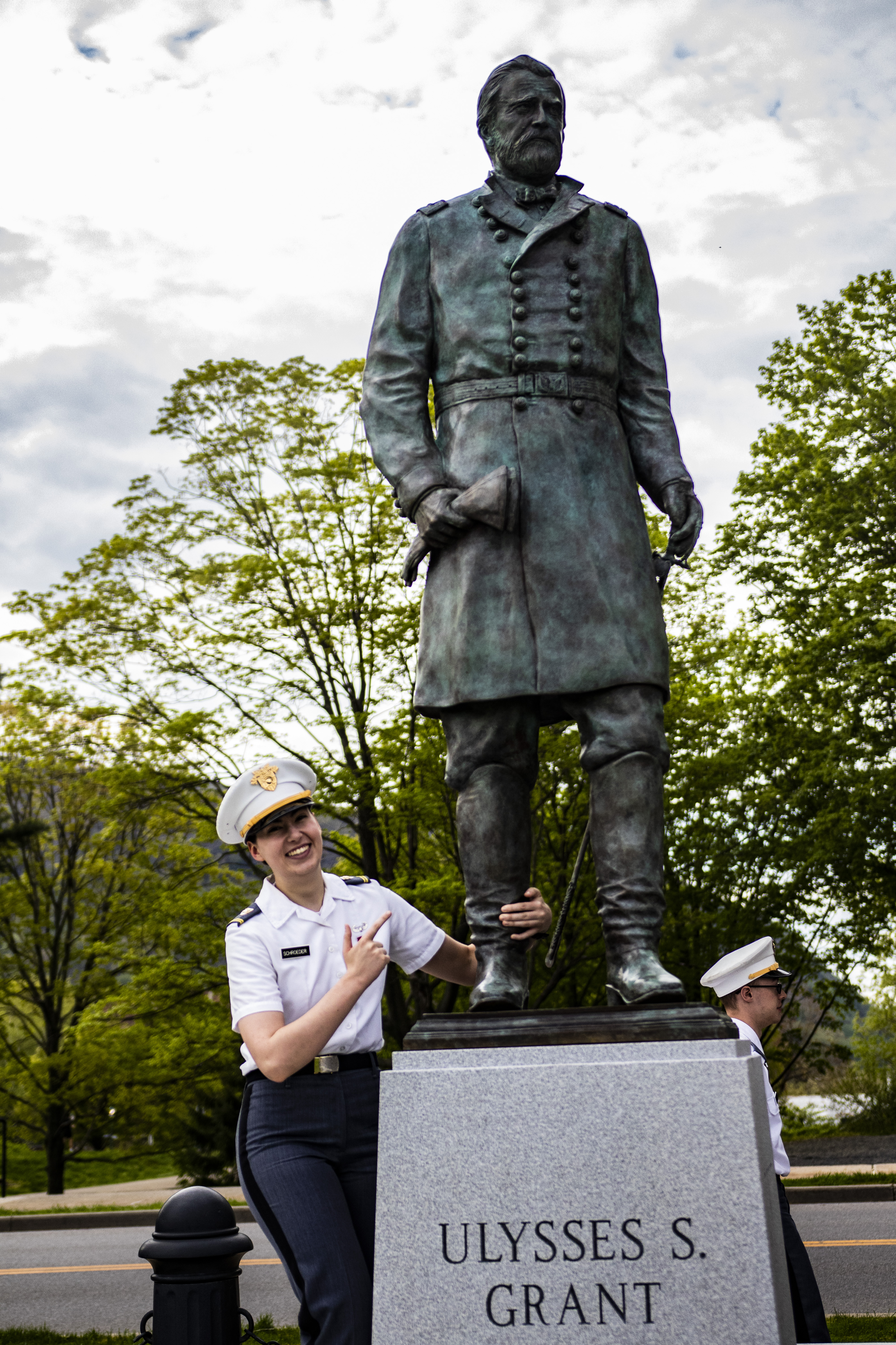 Latter-day Saint cadet Helen Schroeder enjoys fun moment during May 4, 2019, YSA gathering at the United States Military Academy in West Point, New York.