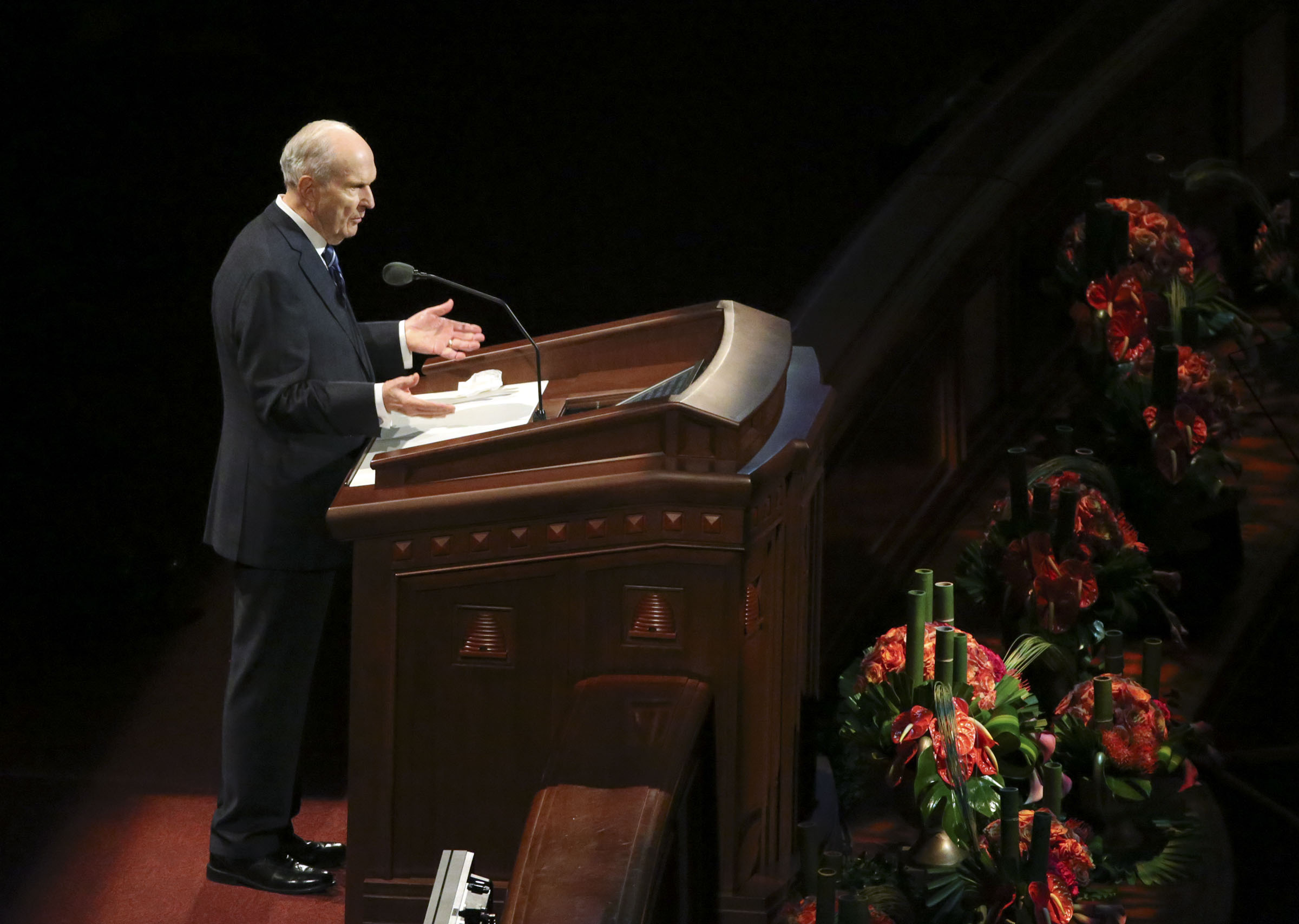 President Russell M. Nelson speaks about the name of the Church during the Sunday morning session of the 188th Semiannual General Conference in the Conference Center in downtown Salt Lake City on Sunday, Oct. 7, 2018.