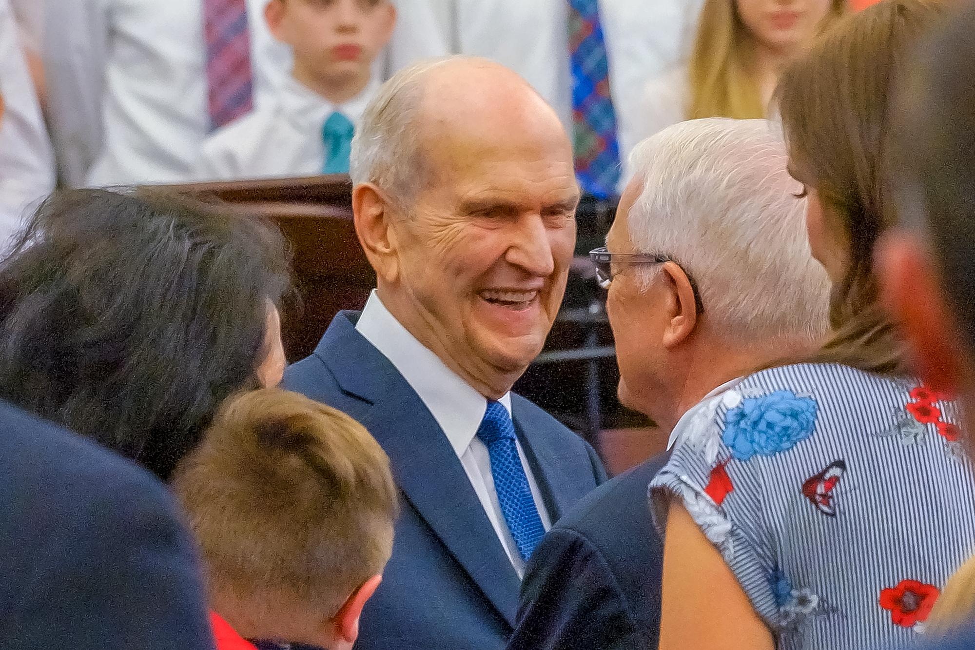 President Russell M. Nelson greets members on June 8, 2018, in Edmonton, Alberta.