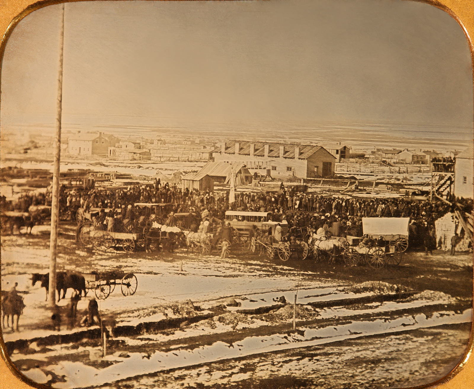 Latter-day Saint leaders and others gathered by horse and buggy for the Salt Lake Temple groundbreaking ceremony Feb. 14, 1853, captured in this daguerreotype recovered by The Church of Jesus Christ of Latter-day Saints in the early 1990s about a decade after its apparent theft from the Church History Department. The temple took 40 years to build.