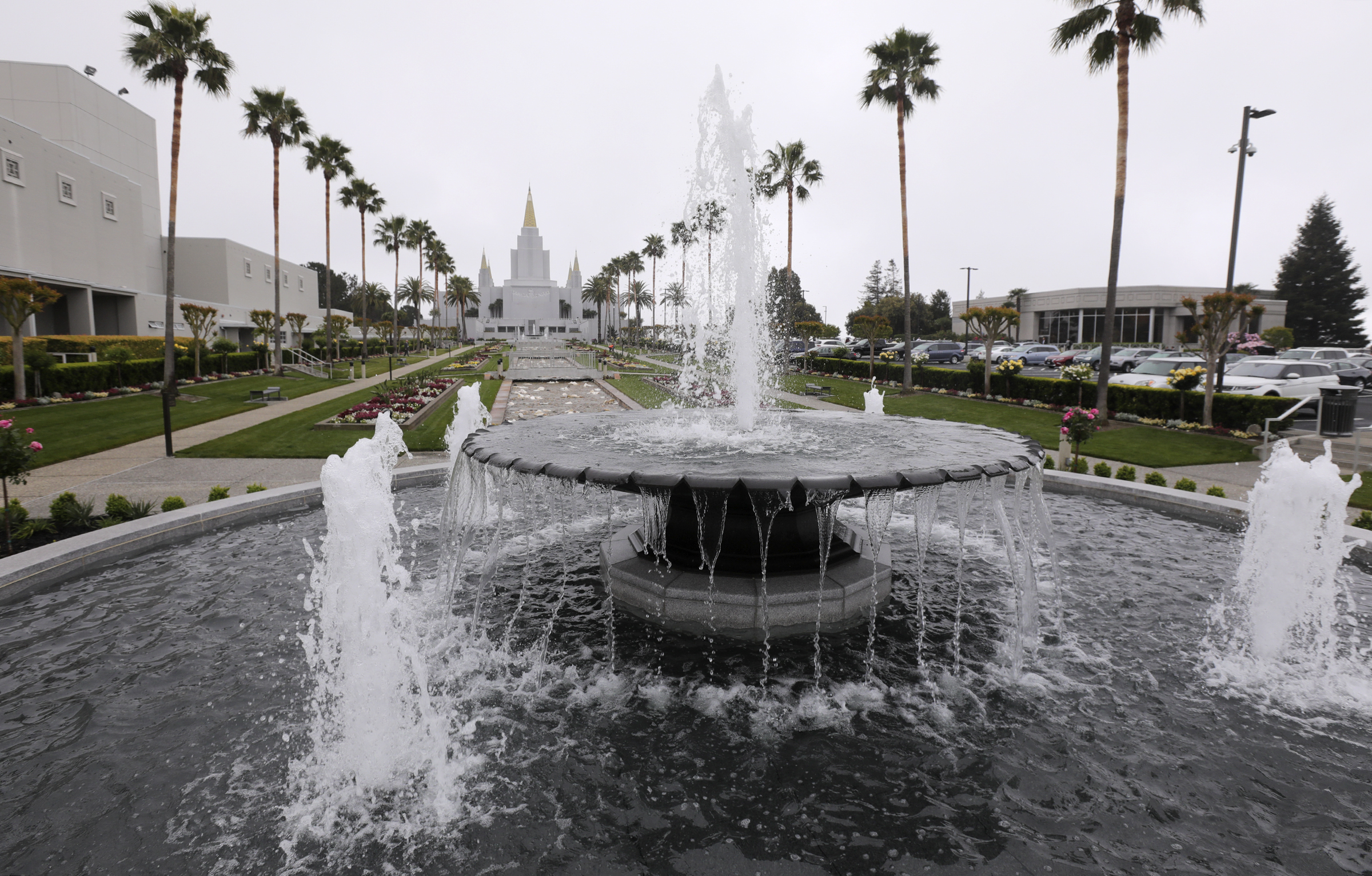 The fountains of the newly renovated Oakland California Temple, of The Church of Jesus Christ of Latter-day Saints, in Oakland, Calif., on Monday, May 6, 2019.