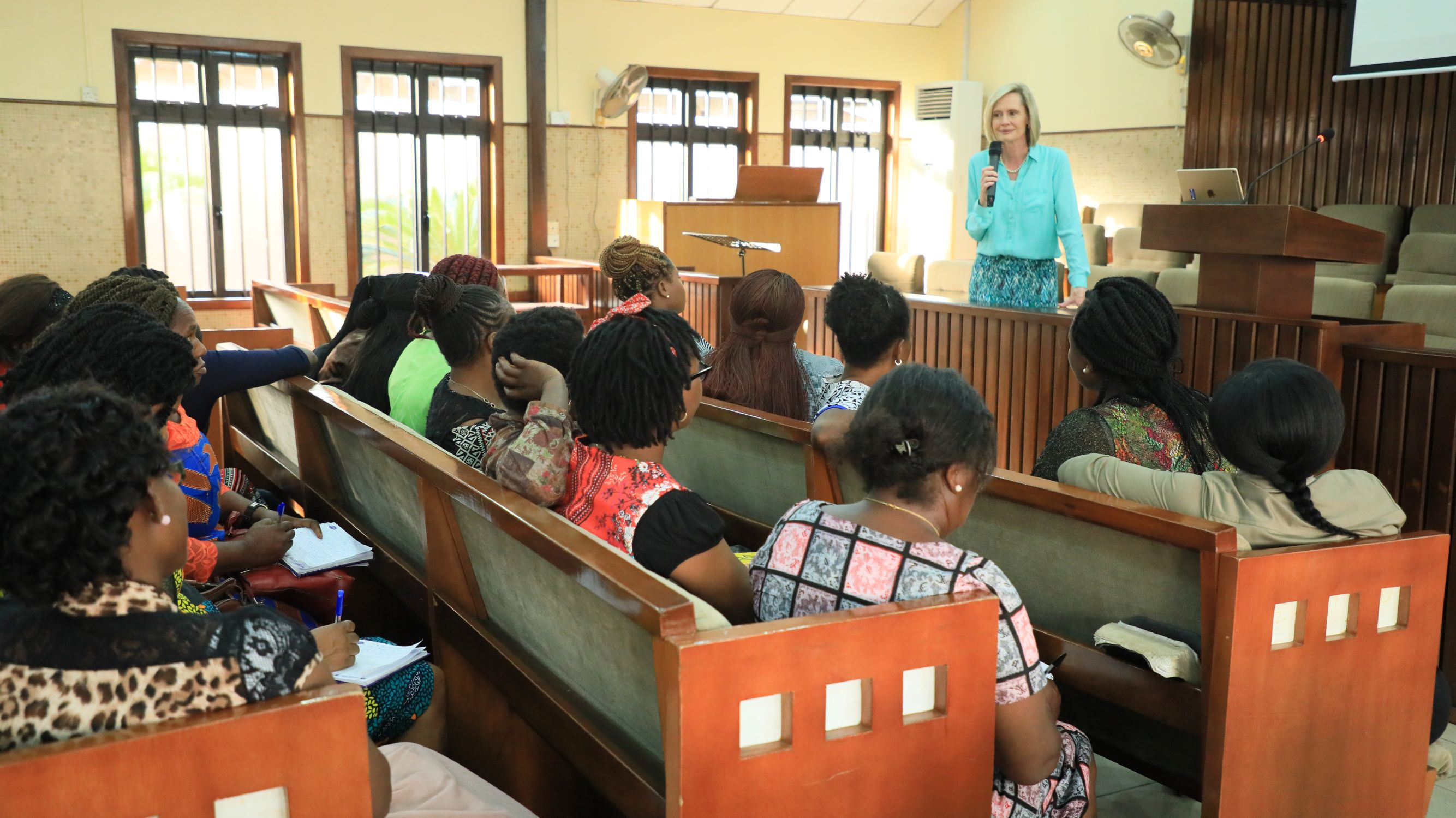 Sister Bonnie H. Cordon, Young Women general president, leads a discussion with Young Women leaders in Lagos, Nigeria, Wednesday, March 6, 2019.