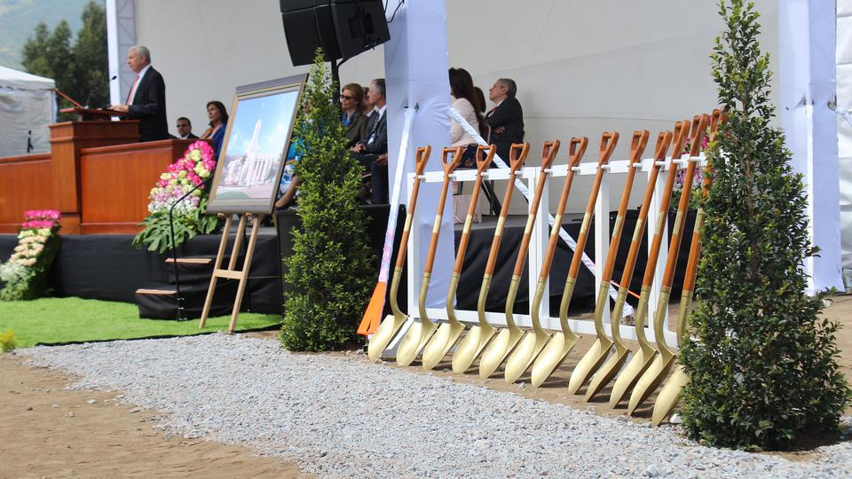 A line of shovels are pictured during the Quito Ecuador Temple groundbreaking on Saturday, May 11, 2019.