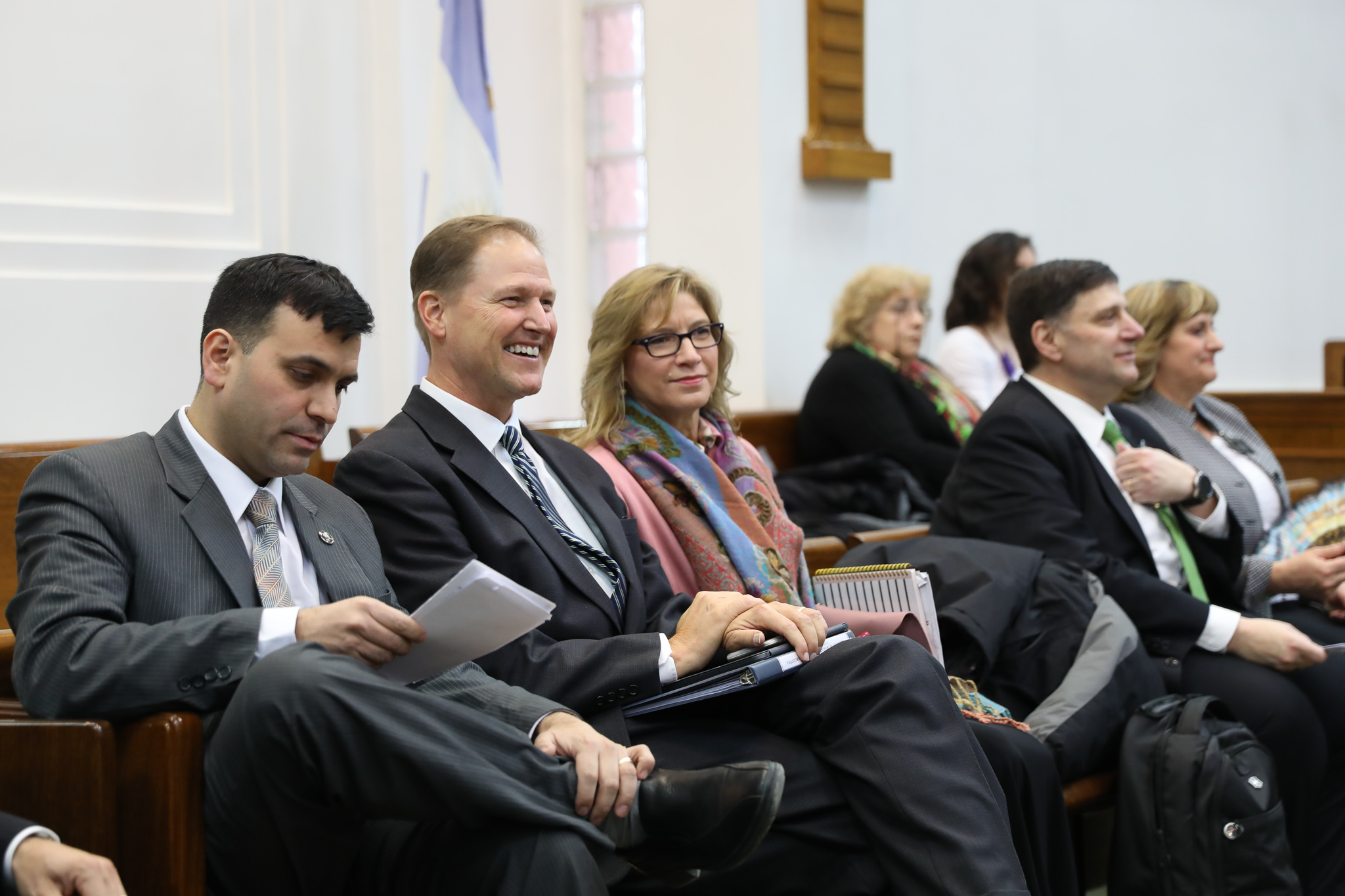 Elder Mark A. Bragg, second right, sits on the stand during the meeting where the southernmost stake in the world, the Tierra del Fuego Argentina Stake, was created on June 2, 2019.